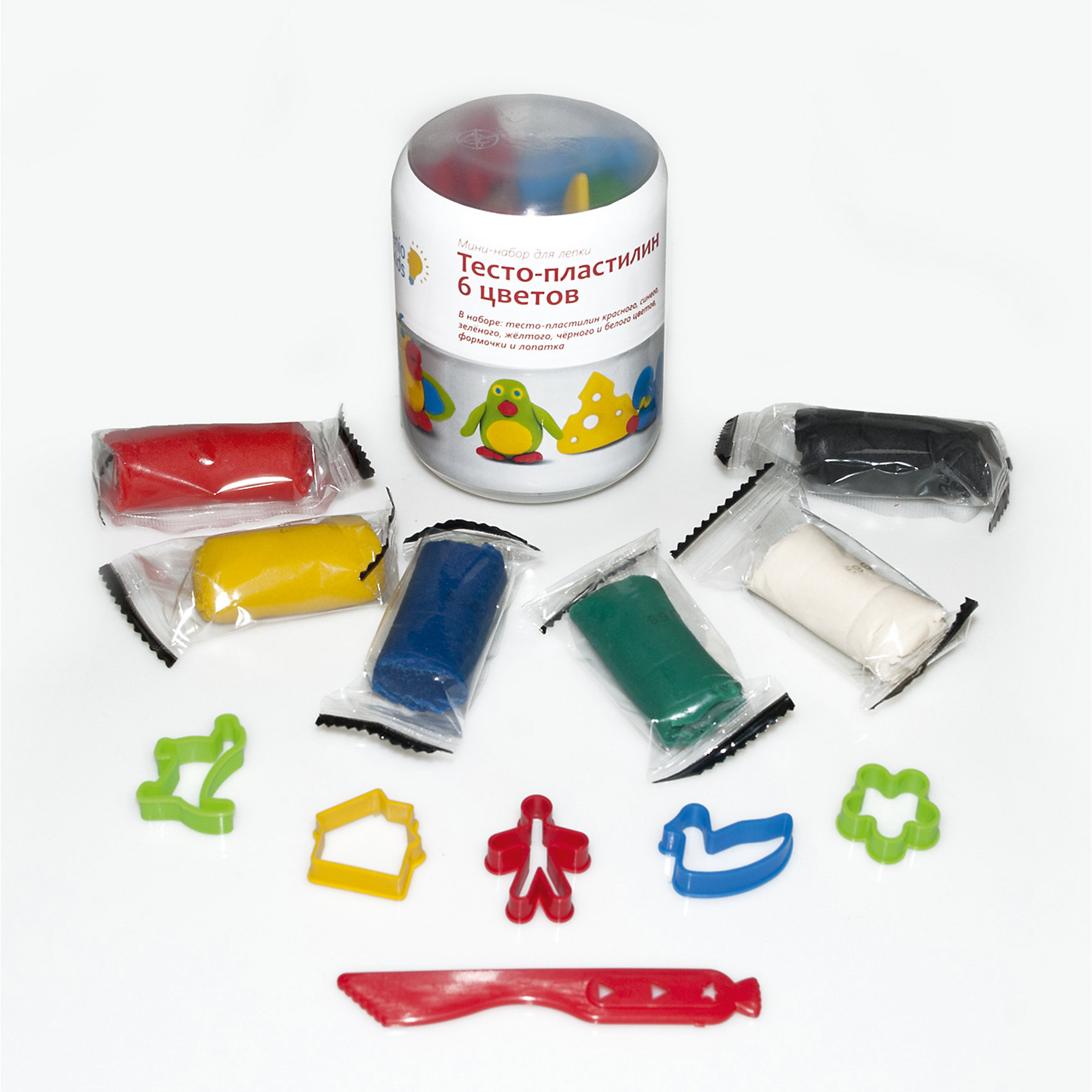 Мини-набор для лепки Тесто-пластилин, 6 цветовПринадлежности для творчества<br>Лепка - прекрасное занятие для организации досуга ребенка. Пластилин изготовлен из высококачественных материалов, безопасен для детей, не пачкает руки, одежду и стол, имеет яркие насыщенные цвета. Лепка идеально подходит для развития мелкой моторики, воображения и творческих способностей детей разного возраста.<br><br>Дополнительная информация:<br><br>- Материал: пластилин, пластик. <br>- Состав пластилина: мука, вода, крахмал, соль, лецитин, ароматизатор, краситель.<br>- Размер упаковки: 6 x 6 x 8 см.<br>- В комплекте: тесто-пластилин (6 цветов), формочки (10 шт), стек (2 шт).<br>- Цвет пластилина: красный, синий, зеленый, желтый, черный, белый.<br><br>Мини-набор для лепки Тесто-пластилин, 6 цветов, можно купить в нашем магазине.<br><br>Ширина мм: 70<br>Глубина мм: 70<br>Высота мм: 90<br>Вес г: 140<br>Возраст от месяцев: 36<br>Возраст до месяцев: 120<br>Пол: Унисекс<br>Возраст: Детский<br>SKU: 4222231