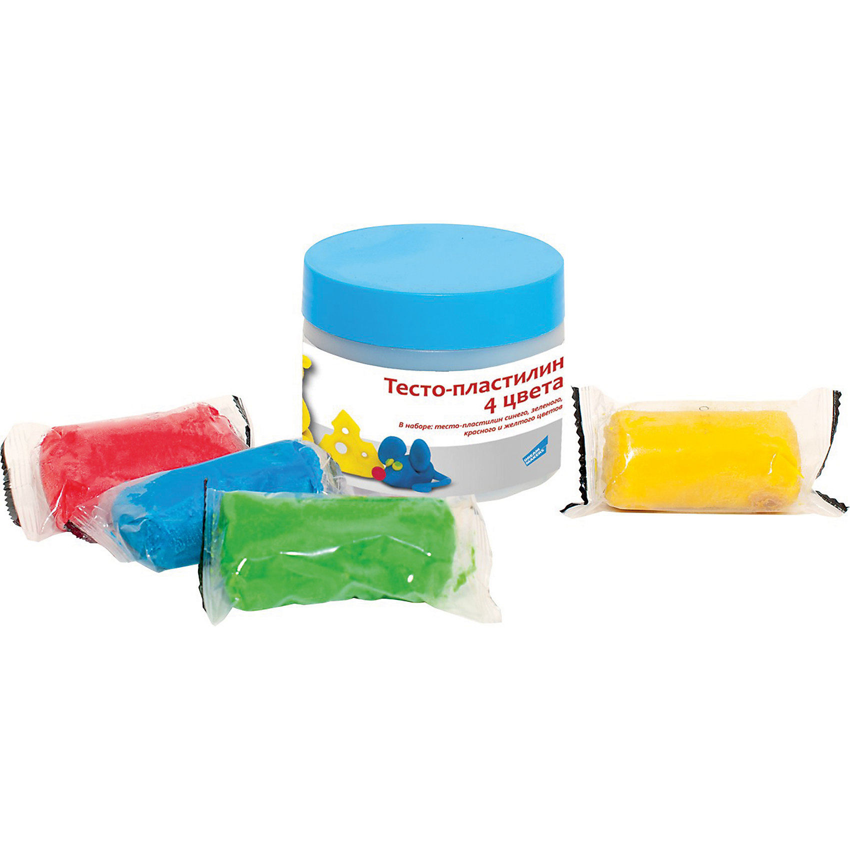 Набор для детского творчества Тесто-пластилин, 4 цветаЛепка - прекрасное занятие для организации досуга ребенка. Пластилин изготовлен из высококачественных материалов, безопасен для детей, не пачкает руки, одежду и стол, имеет яркие насыщенные цвета. Лепка идеально подходит для развития мелкой моторики, воображения и творческих способностей детей разного возраста.<br><br>Дополнительная информация:<br><br>- Материал: пластилин, пластик. <br>- Состав пластилина: мука, вода, крахмал, соль, лецитин, ароматизатор, краситель.<br>- Размер упаковки: 7,6х31х7,8 см.<br>- В комплекте: пластилин (4 баночки, по 50 гр.)<br>- Цвет пластилина: синий, зеленый, красный, желтый.<br><br>Мини-набор для лепки Тесто-пластилин, 4 цвета, можно купить в нашем магазине.<br><br>Ширина мм: 85<br>Глубина мм: 85<br>Высота мм: 70<br>Вес г: 260<br>Возраст от месяцев: 36<br>Возраст до месяцев: 120<br>Пол: Унисекс<br>Возраст: Детский<br>SKU: 4222234
