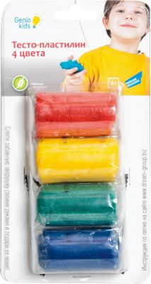 Genio Kids Набор для детского творчества Тесто-пластилин , 4 цвета
