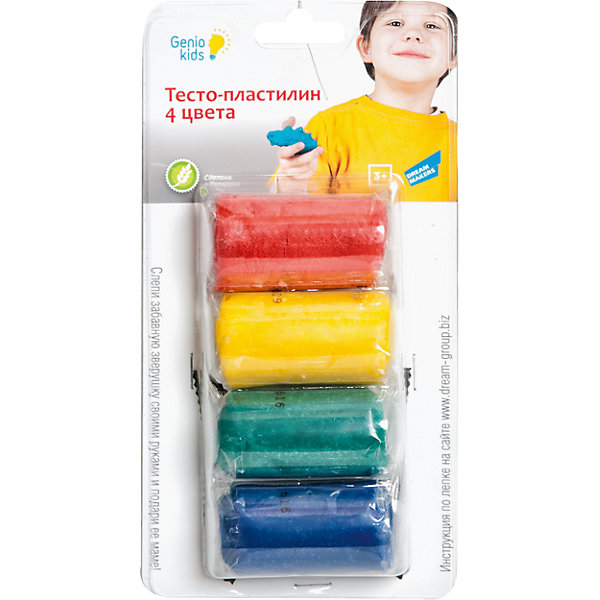 Набор для детского творчества Тесто-пластилин, 4 цветаТесто для лепки<br>Лепка - прекрасное занятие для организации досуга ребенка. Пластилин изготовлен из высококачественных материалов, безопасен для детей, не пачкает руки, одежду и стол, имеет яркие насыщенные цвета. Лепка идеально подходит для развития мелкой моторики, воображения и творческих способностей детей разного возраста.<br><br>Дополнительная информация:<br><br>- Материал: пластилин.<br>- Состав пластилина: мука, вода, крахмал, соль, лецитин, ароматизатор, краситель.<br>- В комплекте: пластилин (4 пакетика, по 50 гр.)<br>- Цвет пластилина: синий, зеленый, красный, желтый.<br><br>Мини-набор для лепки Тесто-пластилин, 4 цвета, можно купить в нашем магазине.<br>Ширина мм: 31; Глубина мм: 100; Высота мм: 179; Вес г: 210; Возраст от месяцев: 36; Возраст до месяцев: 120; Пол: Унисекс; Возраст: Детский; SKU: 4222235;