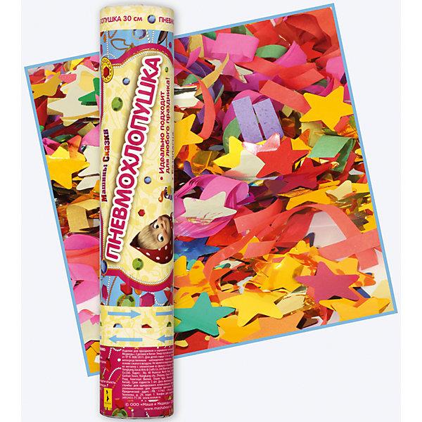 Хлопушка Машины сказки, 30 смДетские хлопушки и бумфетти<br>Любой детский праздник станет ярче и веселее, когда раздастся знакомый хлопок и на участников торжества посыплется разноцветный серпантин, а воздух засияет от переливающегося падающего конфетти. Восторг и радостный смех гостей – гарантированы! И для этого отлично подойдет хлопушка «Машины сказки» по мотивам мультфильма «Маша и Медведь» высотой 30 см, наполненная разноцветным серпантином и конфетти в виде звездочек.<br>Хлопушка представляет собой металлическую тубу с бумажным и фольгированным наполнением, не содержит пороха, действует на основе сжатого воздуха, безопасна при использовании по назначению.<br><br>Дополнительная информация:<br><br>Размер хлопушки: 30 см<br><br>Хлопушку Машины сказки, 30 см можно купить в нашем магазине.<br>Ширина мм: 50; Глубина мм: 50; Высота мм: 280; Вес г: 164; Возраст от месяцев: 60; Возраст до месяцев: 120; Пол: Унисекс; Возраст: Детский; SKU: 4222399;