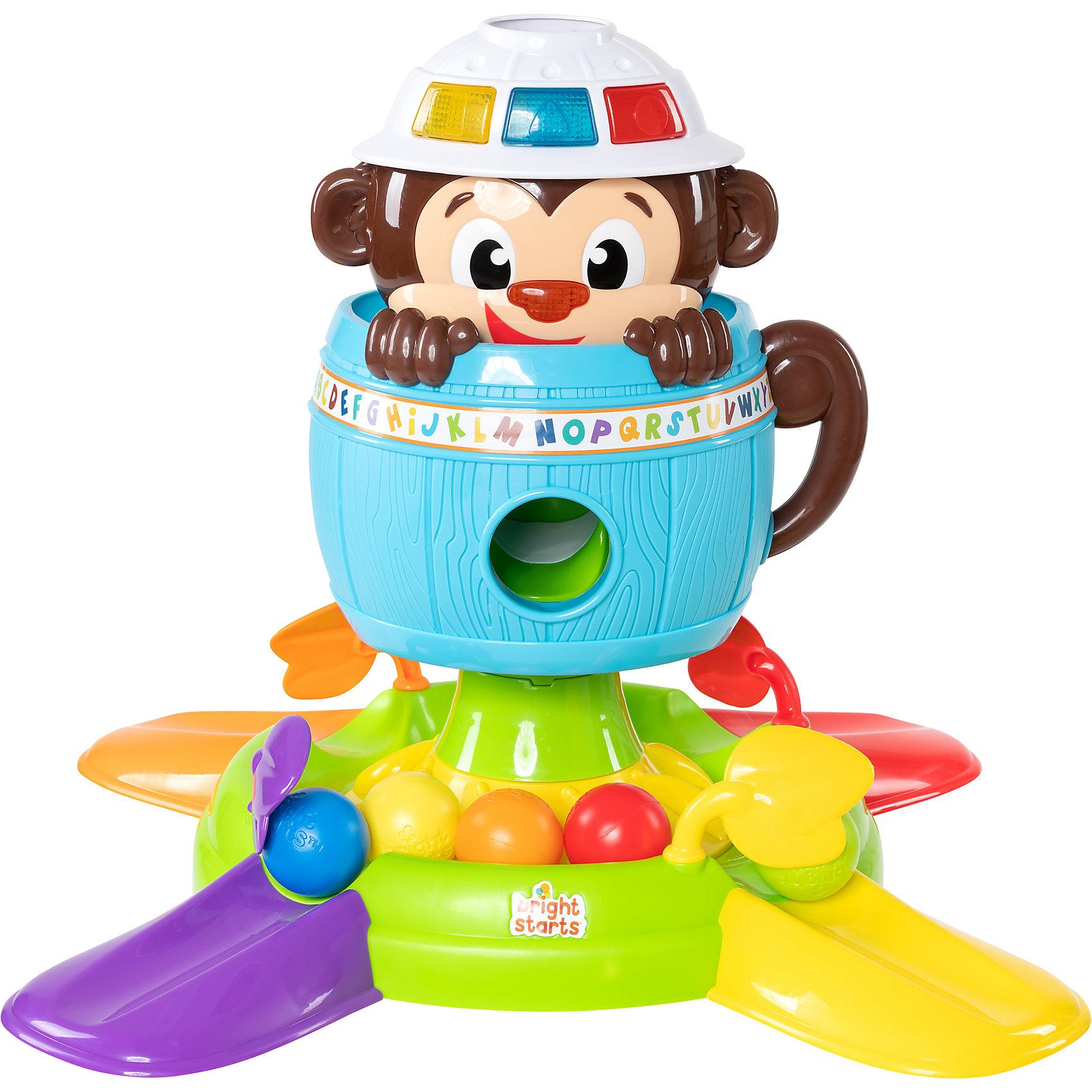 Развивающая игрушка Обезьянка в бочке, Bright StartsЧудесная обезьянка весело смеется и не дает скучать вашему малышу!<br><br>ОСОБЕННОСТИ <br>Играть с обезьянкой можно как сидя, так и стоя <br>Шарики можно закидывать в шляпу обезьянке – обезьянка будет издавать смешные звуки <br>Также шарики можно закидывать в отверстие в бочке <br>Если нажать обезьянке на нос, она спрячется в бочку, а шарики упадут вниз и будут крутиться <br>Открой любую затворку в форме листочка - и шарики скатятся с горки <br>При нажатии на кнопочки малыш услышит название цветов и форм <br><br>Дополнительн<br><br>Ширина мм: 563<br>Глубина мм: 413<br>Высота мм: 165<br>Вес г: 2760<br>Возраст от месяцев: 6<br>Возраст до месяцев: 36<br>Пол: Унисекс<br>Возраст: Детский<br>SKU: 4222549