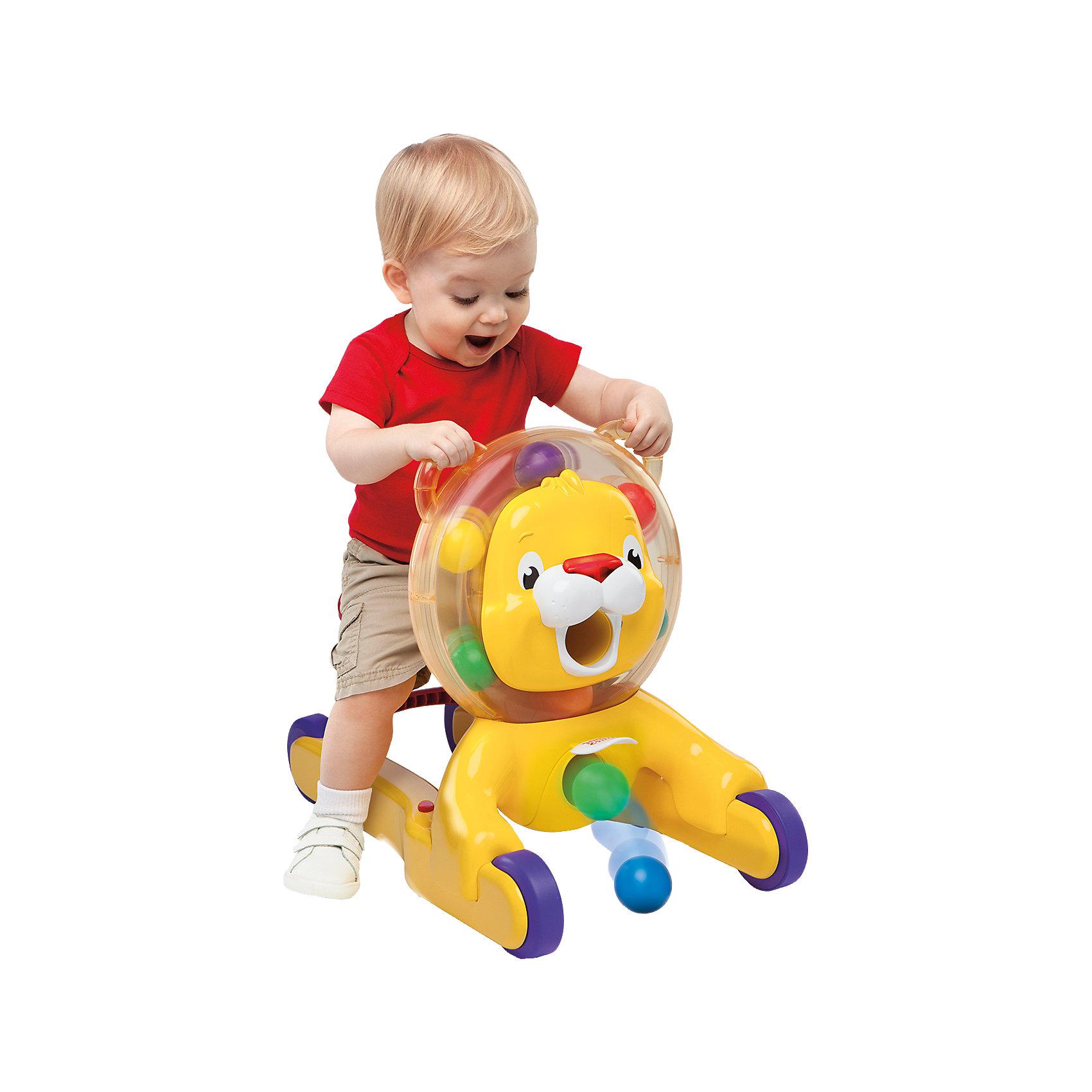 Ходунки-каталка Веселый лев, Bright StartsХодунки – каталка 3-в-1 растут вместе с вашим малышом! <br><br>Особенности<br>3 варианта использования: можно сидеть, ходить и ездить верхом<br>При любом варианте игры внутри гривы льва крутятся разноцветные шарики<br>Накорми льва шариками, а потом подними его медальон – и тогда шарики выкатятся наружу<br>Сиденье каталки поднимается, превращаясь в ручки для поддержания малыша во время ходьбы <br>Во время ходьбы каталка издает забавные звуки<br>Крутящиеся шарики, надежное сиденье и удобные ручки – все что нужно для весе<br><br>Ширина мм: 635<br>Глубина мм: 167<br>Высота мм: 420<br>Вес г: 3400<br>Возраст от месяцев: 6<br>Возраст до месяцев: 36<br>Пол: Унисекс<br>Возраст: Детский<br>SKU: 4222550