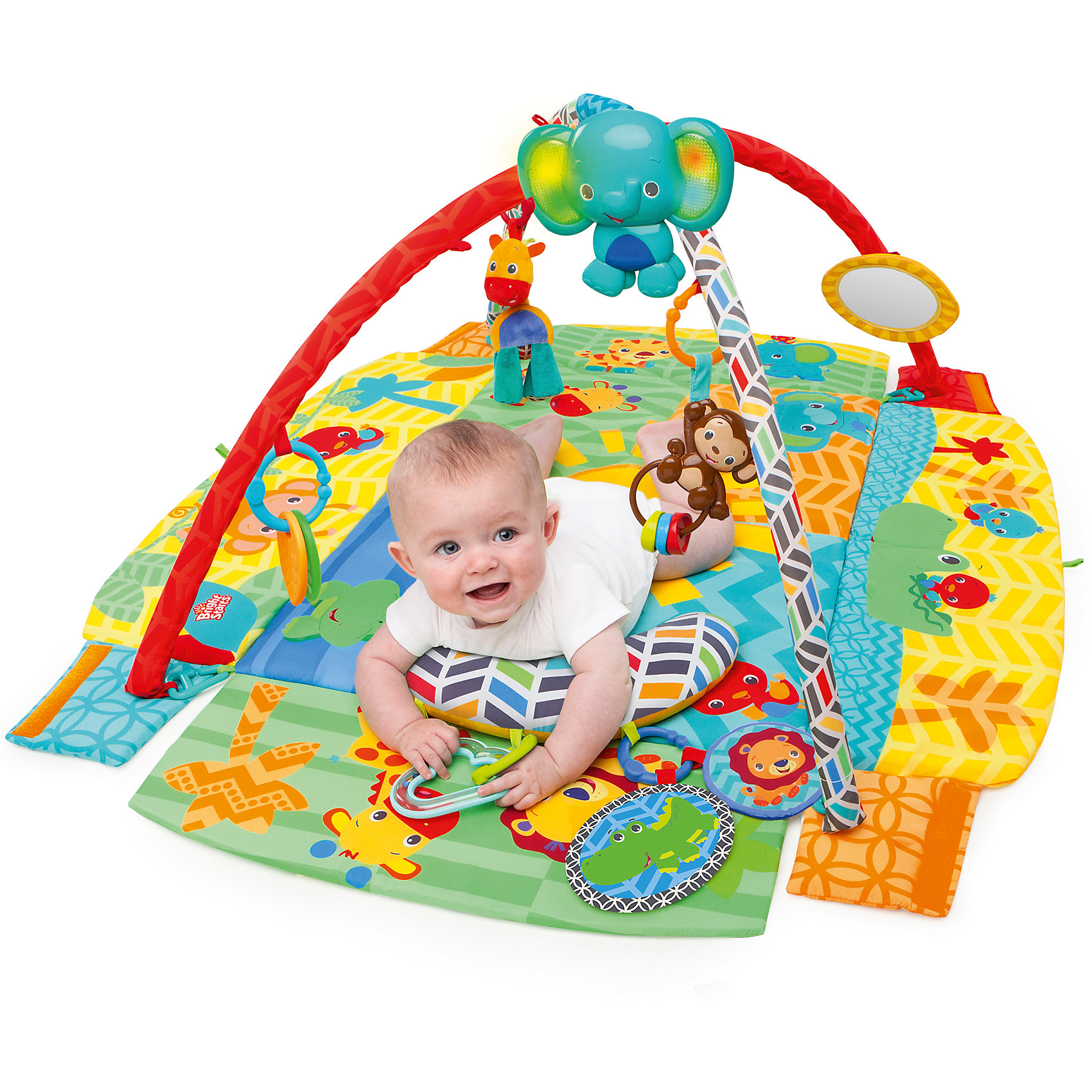 Kids II Развивающий коврик Солнечное сафари, Bright Starts roxy kids антискользящий коврик для ванны цвет желтый 34 см х 74 см