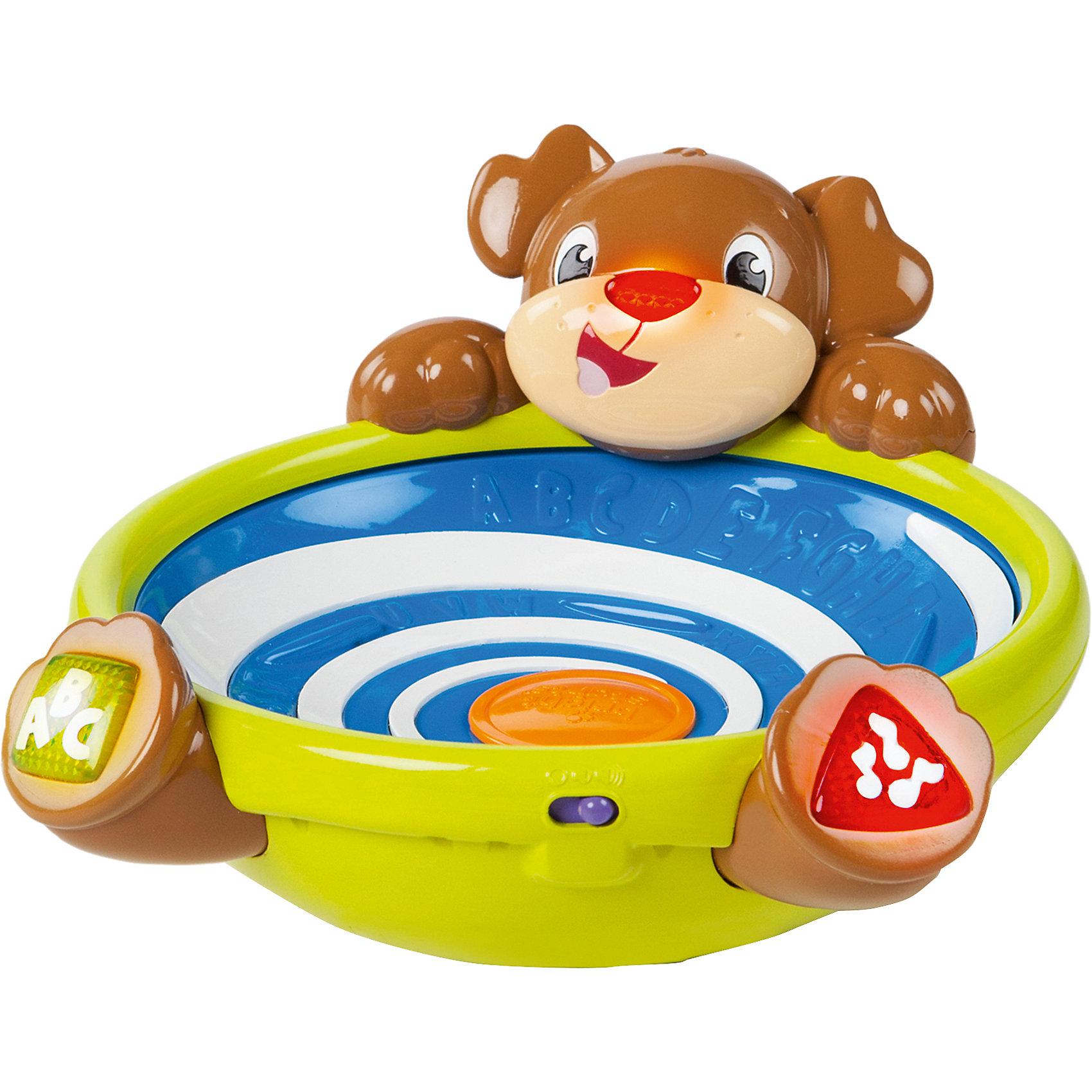 Развивающая игрушка Игривый щенок, Bright StartsРазвивающие игрушки<br>Смейся и играй с забавным щенком!<br><br>ОСОБЕННОСТИ<br>3 разноцветных шарика, которые легко хватать маленькими ручками.<br>2 способа активировать игру:  нажать кнопочки на лапках щенка; нажать на дно чаши.<br>Цветные фигурные кнопочки – для изучения цветов, фигур, букв или прослушивания мелодии.<br>Шарики бегают по кругу и вылетают из чаши. Задача малыша  - их поймать и снова начать игру.<br>Нос щенка светится во время игры.<br><br>Дополнительные характеристики<br> 2 батарейки типа АА (входят в комплект)<br> Размеры товара: 21<br><br>Ширина мм: 297<br>Глубина мм: 251<br>Высота мм: 210<br>Вес г: 754<br>Возраст от месяцев: 6<br>Возраст до месяцев: 36<br>Пол: Унисекс<br>Возраст: Детский<br>SKU: 4222565