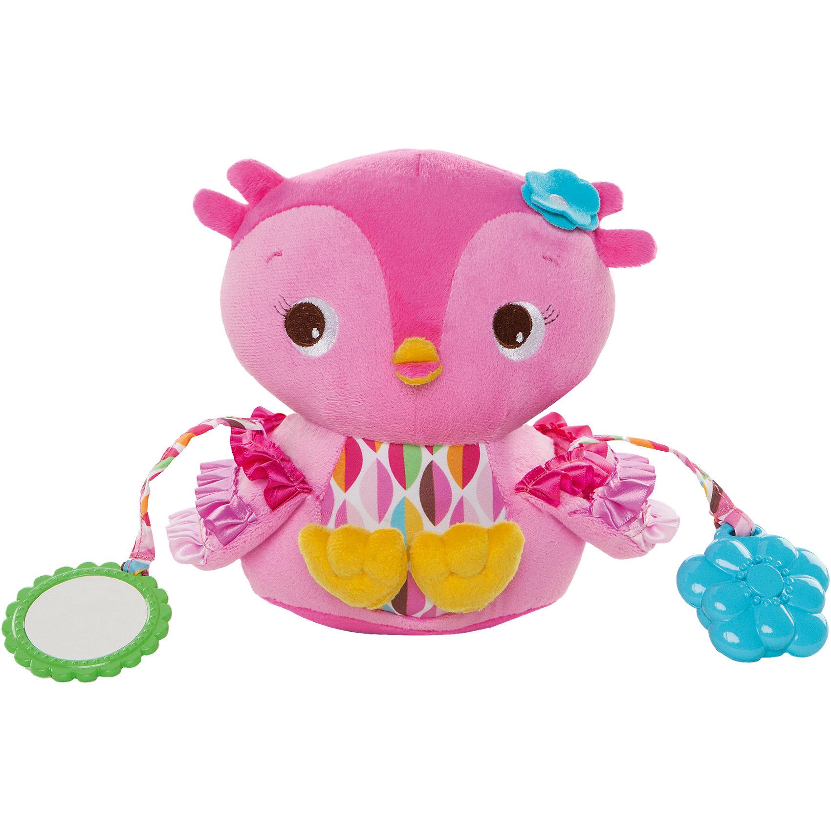 Развивающая игрушка «Совушка», Bright StartsРазвивающие игрушки<br>Яркая развивающая игрушка Совушка, Bright Starts, непременно привлечет внимание Вашего малыша. Забавная птичка сшита из мягких, приятных на ощупь текстильных материалов, имеет привлекательную ярко-розовую расцветку. Множество интересных деталей заинтересуют ребенка и будут способствовать развитию его познавательных способностей. Животик совы издает шуршащие звуки, крылышки выполнены в виде кармашков, куда малыш может прятать мелкие предметы. К игрушке прикреплены безопасное зеркальце, погремушка в виде цветочка и прорезыватель для зубов. Внутри птички имеются звенящие элементы, поэтому ее можно использовать как погремушку. Игрушка развивает цветовое и звуковое восприятие, тактильные ощущения и мелкую моторику рук.<br><br>Дополнительная информация:<br><br>- Материал: текстиль.<br>- Размер игрушки: 16 х 14 х 11 см.<br>- Размер упаковки: 16 х 12 х 20,5 см. <br>- Вес: 0,205 кг.<br><br>Развивающую игрушку Совушка, Bright Starts, можно купить в нашем интернет-магазине.<br><br>Ширина мм: 224<br>Глубина мм: 190<br>Высота мм: 132<br>Вес г: 201<br>Возраст от месяцев: 0<br>Возраст до месяцев: 36<br>Пол: Женский<br>Возраст: Детский<br>SKU: 4222568