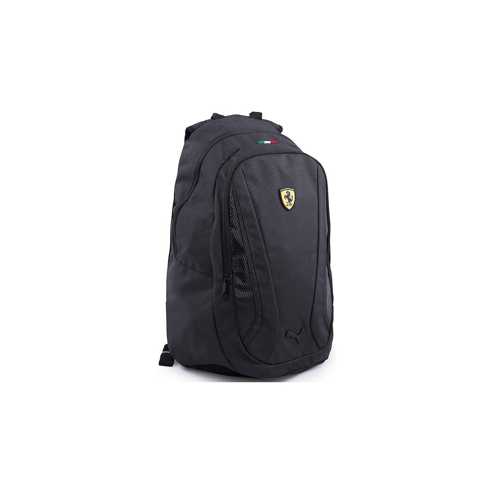 Рюкзак Ferrari Replica Backpack PUMAРюкзак PUMA станет любимым аксессуаром ребенка. Модель имеет одно вместительное отделение на молнии с мягким внутренним карманом для ноутбука и большой внешний карман. Лямки с мягкими накладками регулируются по длине, спинка с частичным мягким сетчатым покрытием для еще большего комфорта. Рюкзак декорирован эмблемой Ferrari  и фирменным логотипом бренда. Практичный и стильный вариант для вашего ребенка! <br><br>Дополнительная информация:<br><br>- Цвет: черный.<br>- Мягкая спинка.<br>- Регулируемые лямки с мягкими накладками.<br>- Спинка с мягкими накладками.<br>- Количество отделений: 1.<br>- Количество карманов:1.<br>- Тип застежки: молния.<br>- Декоративные элементы: логотип бренда, эмблема Ferrari.<br>- Параметры:<br>- Высота: 48 см.<br>- Ширина 28 см.<br>- Ширина дна: 18 см.<br>- Длина ручек: 19 см.<br><br>Состав: <br>полиэстер.<br><br>Рюкзак Ferrari Replica Backpack PUMA (Пума) можно купить в нашем магазине.<br><br>Ширина мм: 227<br>Глубина мм: 11<br>Высота мм: 226<br>Вес г: 350<br>Цвет: черный<br>Возраст от месяцев: 84<br>Возраст до месяцев: 192<br>Пол: Унисекс<br>Возраст: Детский<br>Размер: one size<br>SKU: 4223155