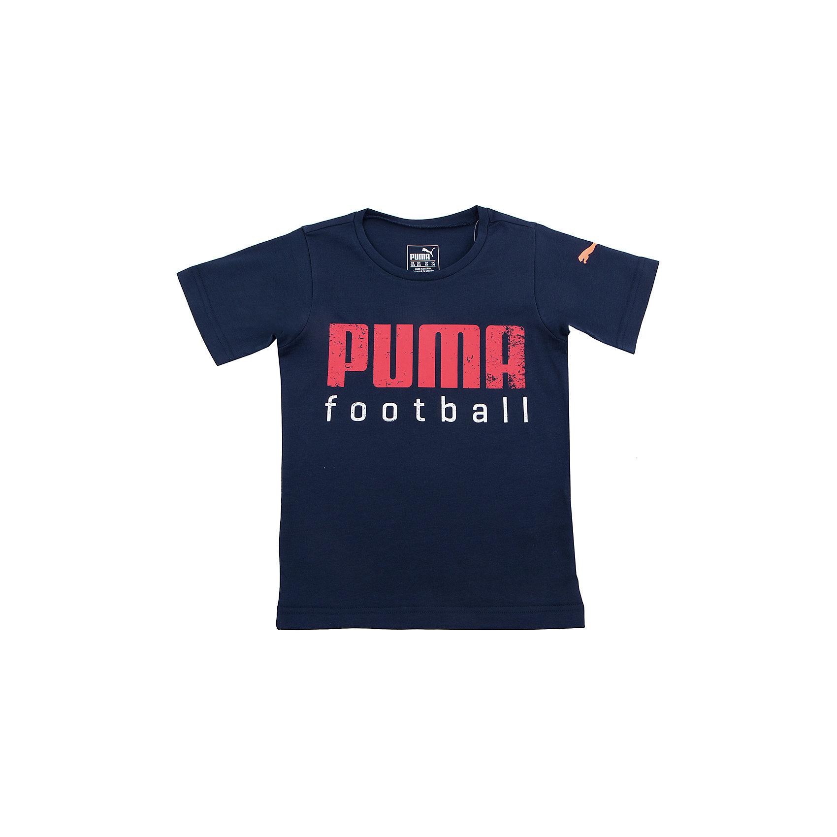 Футболка для мальчика BTS Football Shirt PUMAФутболка для мальчика BTS Football Shirt PUMA - идеальный вариант для занятий спортом и активного отдыха. Модель выполнена из высококачественных материалов, прекрасно смотрится на фигуре, не сковывает движения. Футболка имеет округлый вырез горловины, декорирована контрастной надписью и набивным логотипом на левом рукаве. <br><br>Дополнительная информация:<br><br>- Округлый вырез горловины.<br>- Цвет: черный.<br>- Декоративные элементы: логотип, принт.<br>- Покрой: прямой.<br>Параметры для размера: 140<br>- Длина рукава: 18 см.<br><br>Состав:<br>65% полиэстер, 35% хлопок.<br><br>Футболку для мальчика BTS Football Shirt (Пума) можно купить в нашем магазине.<br><br>Ширина мм: 199<br>Глубина мм: 10<br>Высота мм: 161<br>Вес г: 151<br>Цвет: черный<br>Возраст от месяцев: 60<br>Возраст до месяцев: 72<br>Пол: Мужской<br>Возраст: Детский<br>Размер: 116,128,152,176,164,140<br>SKU: 4223301