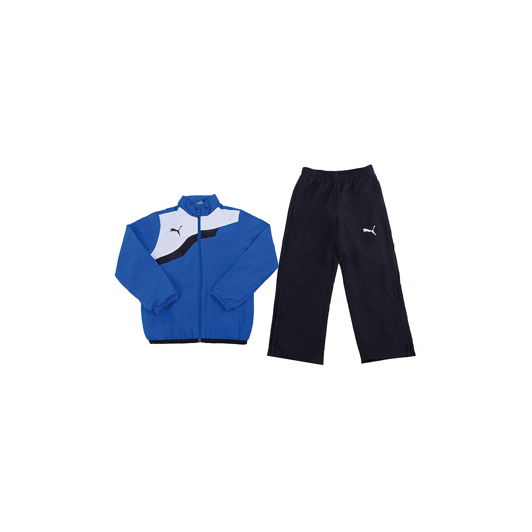 Спортивный костюм для мальчика BTS Woven Tracksuit PUMAСпортивный костюм для мальчика от известного бренда PUMA - идеальный вариант для спортивных занятий и активного отдыха. Костюм состоит из толстовки и брюк. Толстовка комбинированной расцветки имеет воротник-стойку, застегивается на молнию, декорирована фирменным логотипом. Брюки на эластичном поясе имеют карманы по бокам. <br><br>Дополнительная информация:<br><br>- Комплектация: брюки, толстовка.<br>- Крой брючин: прямой.<br>- Цвет: черный, голубой, белый.<br>- Брюки на эластичном поясе.<br>- Толстовка: манжеты на рукавах, резинка по низу.<br>- Тип кармана: втачной.<br>- Тип застежки: молния.<br>- Декоративные элементы: логотип.<br>Параметры для размера: 140<br>- Длина рукава: 50 см.<br>- Ширина брючин (низ) : 17 см.<br>- Высота посадки: 23 см.<br>- Длина по внутреннему шву: 60см.<br><br>Состав:<br>100 % полиэстер<br><br>Спортивный костюм для мальчика BTS Woven Tracksuit PUMA (Пума), можно купить в нашем магазине.<br><br>Ширина мм: 247<br>Глубина мм: 16<br>Высота мм: 140<br>Вес г: 225<br>Цвет: синий<br>Возраст от месяцев: 132<br>Возраст до месяцев: 144<br>Пол: Мужской<br>Возраст: Детский<br>Размер: 152,176,116,164,140,128<br>SKU: 4223308