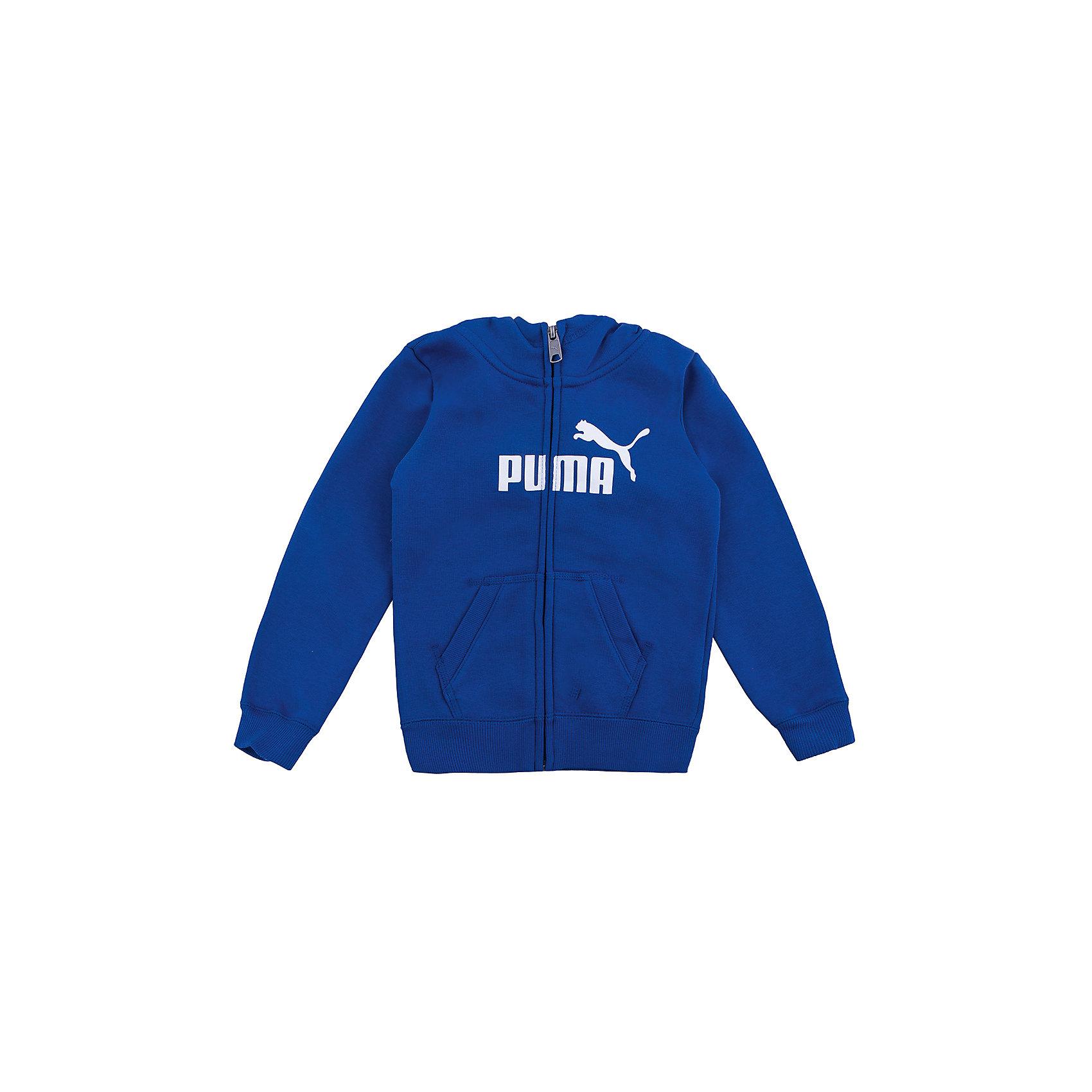 Толстовка для мальчика ESS Hooded Sweat Jacket PUMAТолстовка для мальчика ESS Hooded Sweat Jacket от известной марки PUMA - прекрасный вариант для активного отдыха. Модель на молнии имеет объемный капюшон, два накладных кармана, манжеты на рукавах и резинку по низу. Толстовка выполнена из высококачественных материалов, хорошо сидит на фигуре, декорирована принтом с логотипом бренда.  <br><br>Дополнительная информация:<br><br>- Цвет: синий.<br>- Капюшон.<br>- Покрой: прямой.<br>- Манжеты на рукавах, резинка по низу.<br>- Тип карманов: накладные.<br>- Тип застежки: молния.<br>- Декоративные элементы: принт.<br>Параметры для размера: 140<br>- Длина рукава: 51 см.<br><br>Состав:<br>70% хлопок, 30% полиэстер<br><br>Толстовку для мальчика ESS Hooded Sweat Jacket PUMA (Пума) можно купить в нашем магазине.<br><br>Ширина мм: 218<br>Глубина мм: 10<br>Высота мм: 190<br>Вес г: 284<br>Цвет: синий<br>Возраст от месяцев: 108<br>Возраст до месяцев: 120<br>Пол: Мужской<br>Возраст: Детский<br>Размер: 152,128,110,104,176,116,140,164<br>SKU: 4223477
