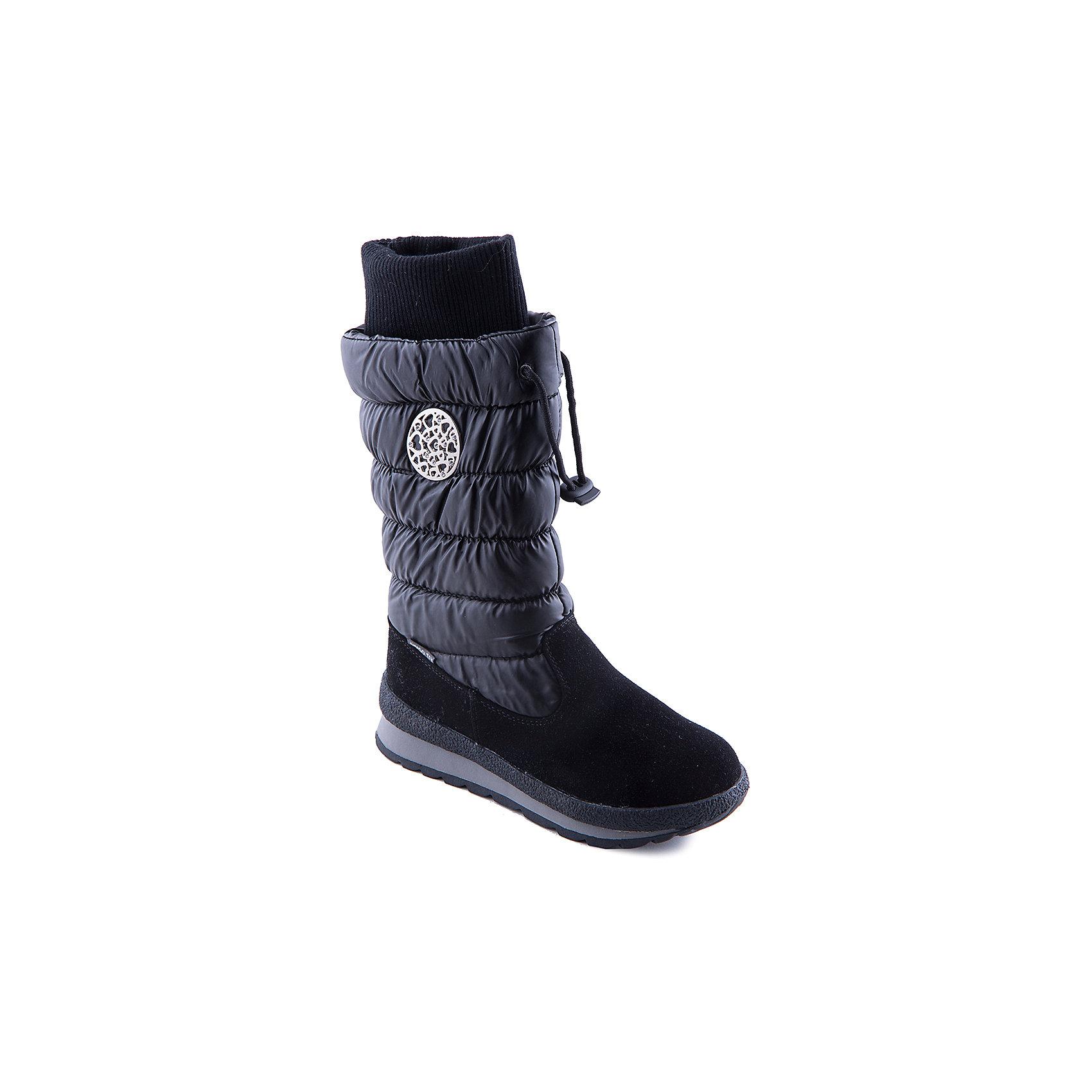 Сапоги для девочки Indigo kidsСапоги для девочки от популярной марки Indigo kids.<br>Стильные и удобные дутые сапоги надежно согреют ноги даже в морозы благодаря подкладке из натуральной шерсти. Они сделаны с применением технологии INDIGO TEX – это мембранный материал, выводящий влагу из обуви наружу, но не позволяющий сырости проникать внутрь.<br>Отличительные особенности модели:<br>- оригинальный дизайн, практичный черный цвет;<br>- комфортная колодка;<br>- толстая устойчивая подошва;<br>- удобная молния сбоку, утяжка сверху;<br>- качественная подкладка из шерсти;<br>- мембрана INDIGO TEX.<br>Дополнительная информация:<br>- Сезон: зима.<br>- Состав:<br>материал верха: текстиль/искусственная кожа<br>материал подкладки: шерсть<br>подошва: ТЭП.<br>Сапоги для девочки Indigo kids (Индиго кидс) можно купить в нашем магазине.<br><br>Ширина мм: 257<br>Глубина мм: 180<br>Высота мм: 130<br>Вес г: 420<br>Цвет: черный<br>Возраст от месяцев: 96<br>Возраст до месяцев: 108<br>Пол: Женский<br>Возраст: Детский<br>Размер: 32,33,36,37,35,34<br>SKU: 4225974
