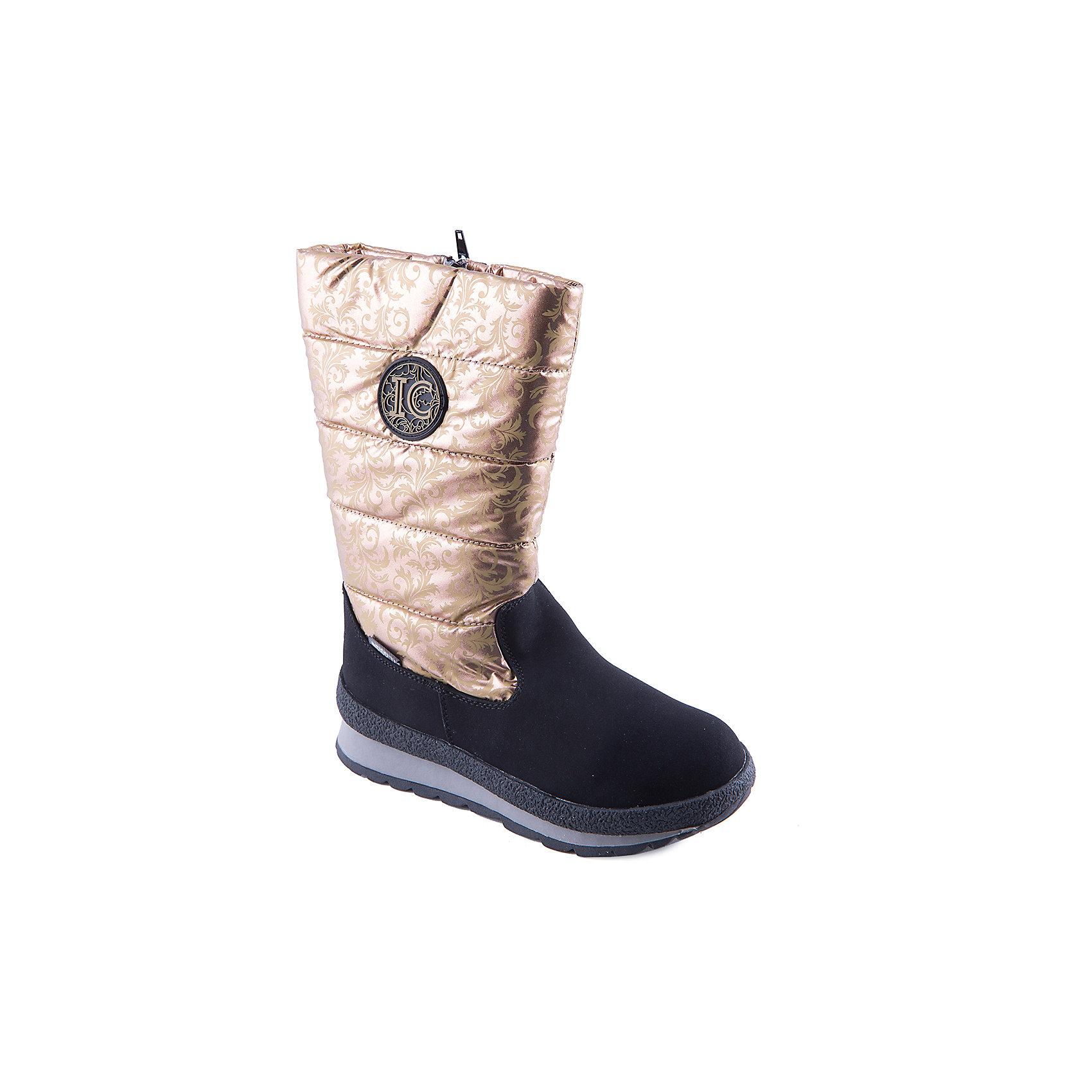 Сапоги для девочки Indigo kidsСапоги для девочки от популярной марки Indigo kids.<br>Дутые сапоги надежно согреют детские ноги зимой благодаря подкладке из натуральной шерсти. Они сделаны с применением технологии INDIGO TEX – это мембранный материал, выводящий влагу из обуви наружу, но не позволяющий сырости проникать внутрь.<br>Отличительные особенности модели:<br>- оригинальный дизайн, голенище золотистого цвета;<br>- комфортная колодка;<br>- толстая устойчивая подошва;<br>- удобная молния сбоку;<br>- качественная подкладка из шерсти;<br>- мембрана INDIGO TEX.<br>Дополнительная информация:<br>- Сезон: зима.<br>- Состав:<br>материал верха: текстиль/искусственная кожа<br>материал подкладки: шерсть<br>подошва: ТЭП.<br>Сапоги для девочки Indigo kids (Индиго кидс можно купить в нашем магазине.<br><br>Ширина мм: 257<br>Глубина мм: 180<br>Высота мм: 130<br>Вес г: 420<br>Цвет: золотой<br>Возраст от месяцев: 96<br>Возраст до месяцев: 108<br>Пол: Женский<br>Возраст: Детский<br>Размер: 32,33,34,36,35,37<br>SKU: 4226002