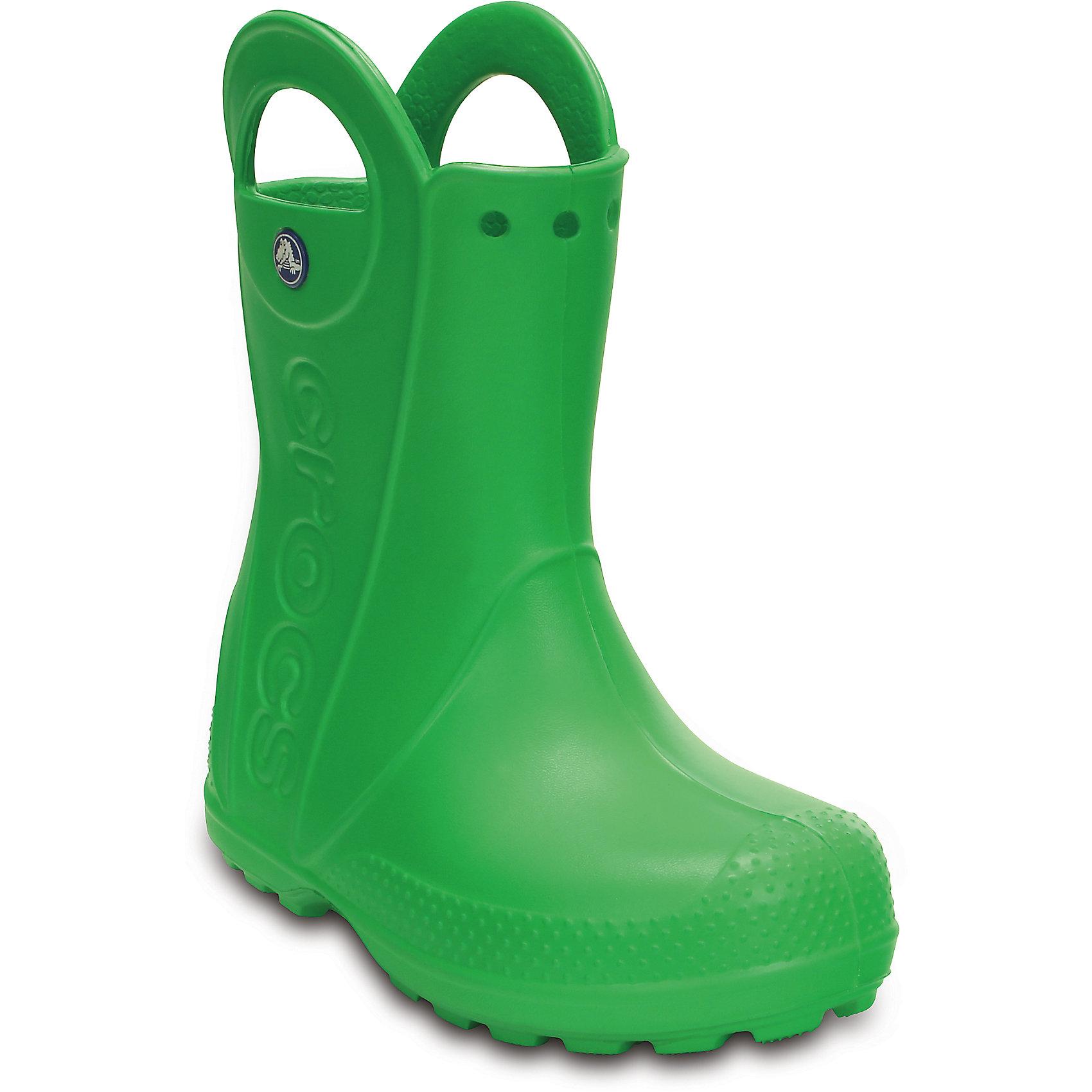Резиновые сапоги Kids' Handle It Rain Boot Crocs, зеленыйРезиновые сапоги<br>Характеристики товара:<br><br>• цвет: зеленый<br>• материал: 100% полимер Croslite™<br>• непромокаемые<br>• температурный режим: от +5° до +25° С<br>• легко моются<br>• антискользящая подошва<br>• ручки<br>• толстая устойчивая подошва<br>• страна бренда: США<br>• страна изготовитель: Китай<br><br>Для детской обуви крайне важно, чтобы она была удобной. <br><br>Сапоги легко надеваются и снимаются, отлично сидят на ноге. <br><br>Материал препятствует образованию неприятного запаха и появлению болезней стоп. <br><br>Данная модель особенно понравится детям - ведь в них можно бегать по лужам!<br><br>Резиновые сапоги от торговой марки Crocs можно купить в нашем интернет-магазине.<br><br>Ширина мм: 257<br>Глубина мм: 180<br>Высота мм: 130<br>Вес г: 420<br>Цвет: зеленый<br>Возраст от месяцев: 18<br>Возраст до месяцев: 21<br>Пол: Унисекс<br>Возраст: Детский<br>Размер: 23,31/32,32,26,25,34,33,30,29,28,27,24<br>SKU: 4226504