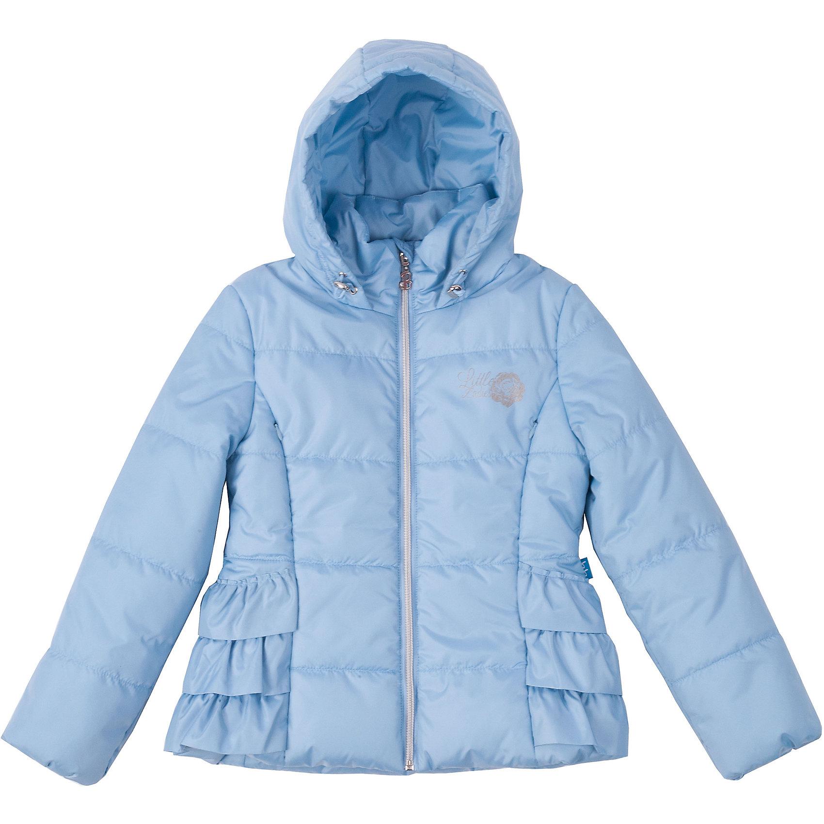 Куртка для девочки Button BlueУдобная красивая куртка на осень - залог хорошего настроения в ненастный день! Череда рюш на боковых деталях придают модели оригинальность. Капюшон куртки имеет утяжку от продувания!<br>Состав:<br>тк. верха:                        100%полиэстер,                           подкл.:  80%хлопок, 20%полиэстер/               100%полиэстер, утепл.:         100%полиэстер<br><br>Ширина мм: 356<br>Глубина мм: 10<br>Высота мм: 245<br>Вес г: 519<br>Цвет: голубой<br>Возраст от месяцев: 24<br>Возраст до месяцев: 36<br>Пол: Женский<br>Возраст: Детский<br>Размер: 98,122,116,110,104<br>SKU: 4227220