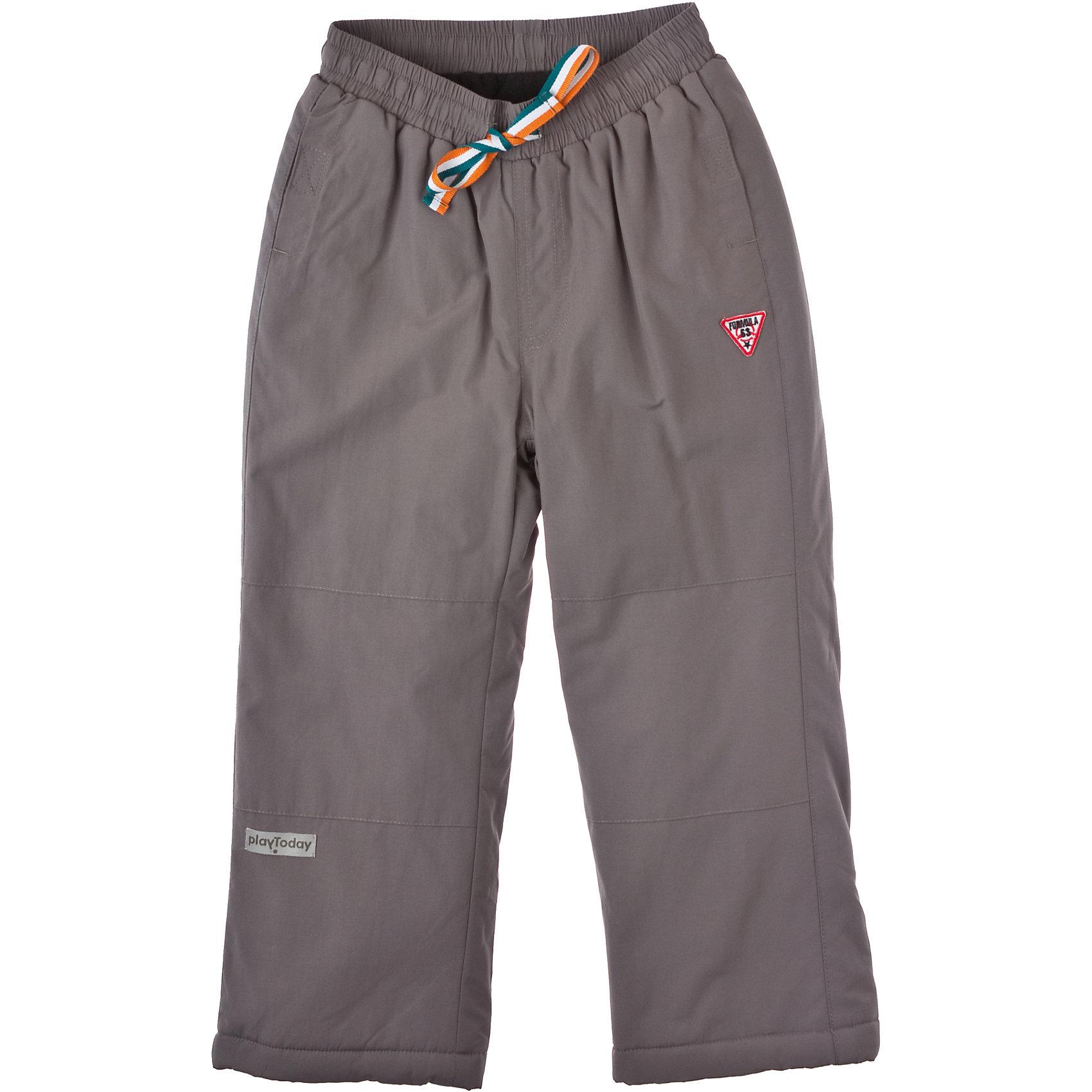 Брюки для мальчика PlayTodayБрюки для мальчика PlayToday Утепленные брюки на холодную погоду. Флисовая подкладка вверху изделия, и нейлоновая к низу, что обеспечивает легкое одевание. Пояс - на резинке, с завязками. Состав: Верх: 100% нейлон, подкладка: 100% полиэстер, наполнитель: 100% полиэстер<br><br>Ширина мм: 215<br>Глубина мм: 88<br>Высота мм: 191<br>Вес г: 336<br>Цвет: серый<br>Возраст от месяцев: 36<br>Возраст до месяцев: 48<br>Пол: Мужской<br>Возраст: Детский<br>Размер: 104,110,116,98,122,128<br>SKU: 4227533