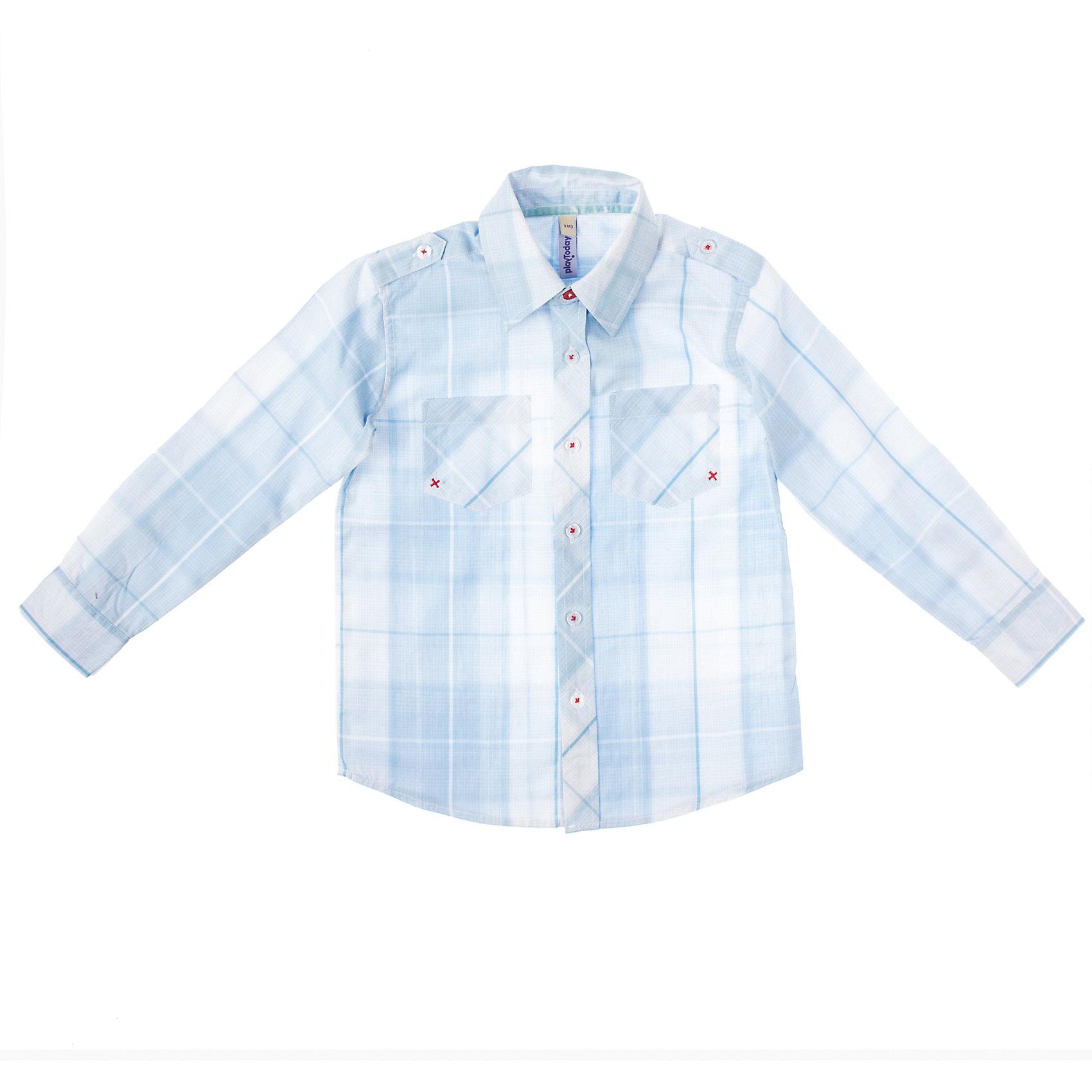Рубашка для мальчика PlayTodayСорочка для мальчика PlayToday Стильная рубашка<br>в клетку. <br>Отложной воротничок со стойкой, манжеты на пуговицах. На полочках - два функциональных накладных кармана. Состав: 60% хлопок, 40% полиэстер<br><br>Ширина мм: 281<br>Глубина мм: 70<br>Высота мм: 188<br>Вес г: 295<br>Цвет: голубой<br>Возраст от месяцев: 24<br>Возраст до месяцев: 36<br>Пол: Мужской<br>Возраст: Детский<br>Размер: 98,110,104,122,128,116<br>SKU: 4227561