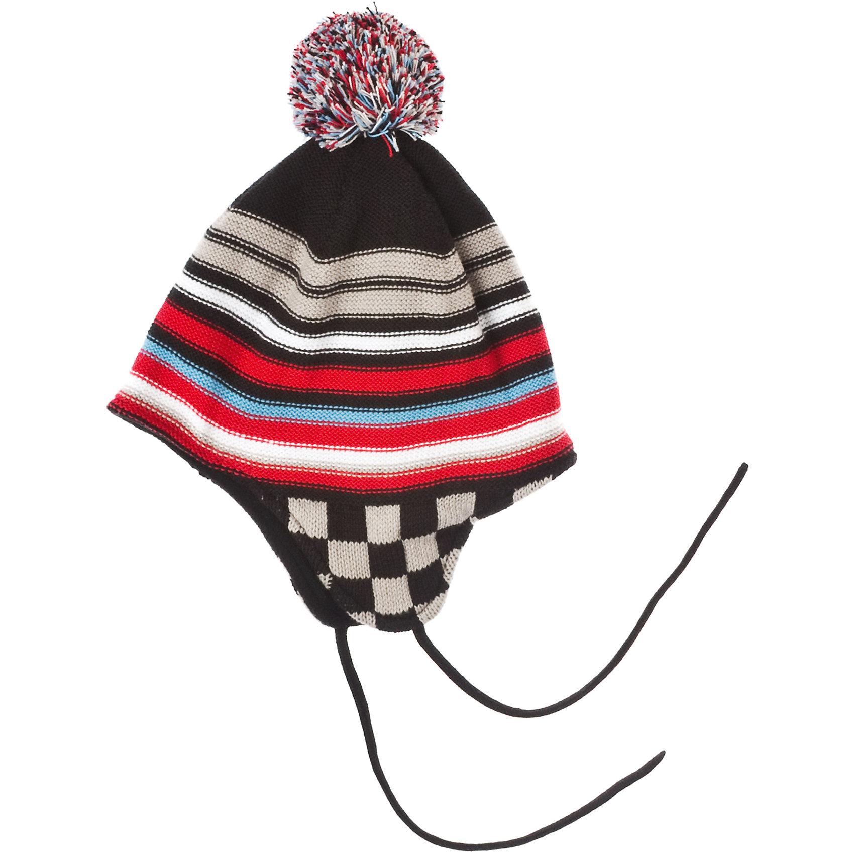 Шапка для мальчика PlayTodayГоловные уборы<br>Шапка для мальчика PlayToday Вязаная шапка в цветную полоску на флисовой подкладке. На завязках. Декорирована разноцветным помпоном. Состав: Верх: 60% хлопок, 40% акрил, подкладка:100% полиэстер<br><br>Ширина мм: 89<br>Глубина мм: 117<br>Высота мм: 44<br>Вес г: 155<br>Цвет: черный/розовый<br>Возраст от месяцев: 24<br>Возраст до месяцев: 36<br>Пол: Мужской<br>Возраст: Детский<br>Размер: 50,54,52<br>SKU: 4227609
