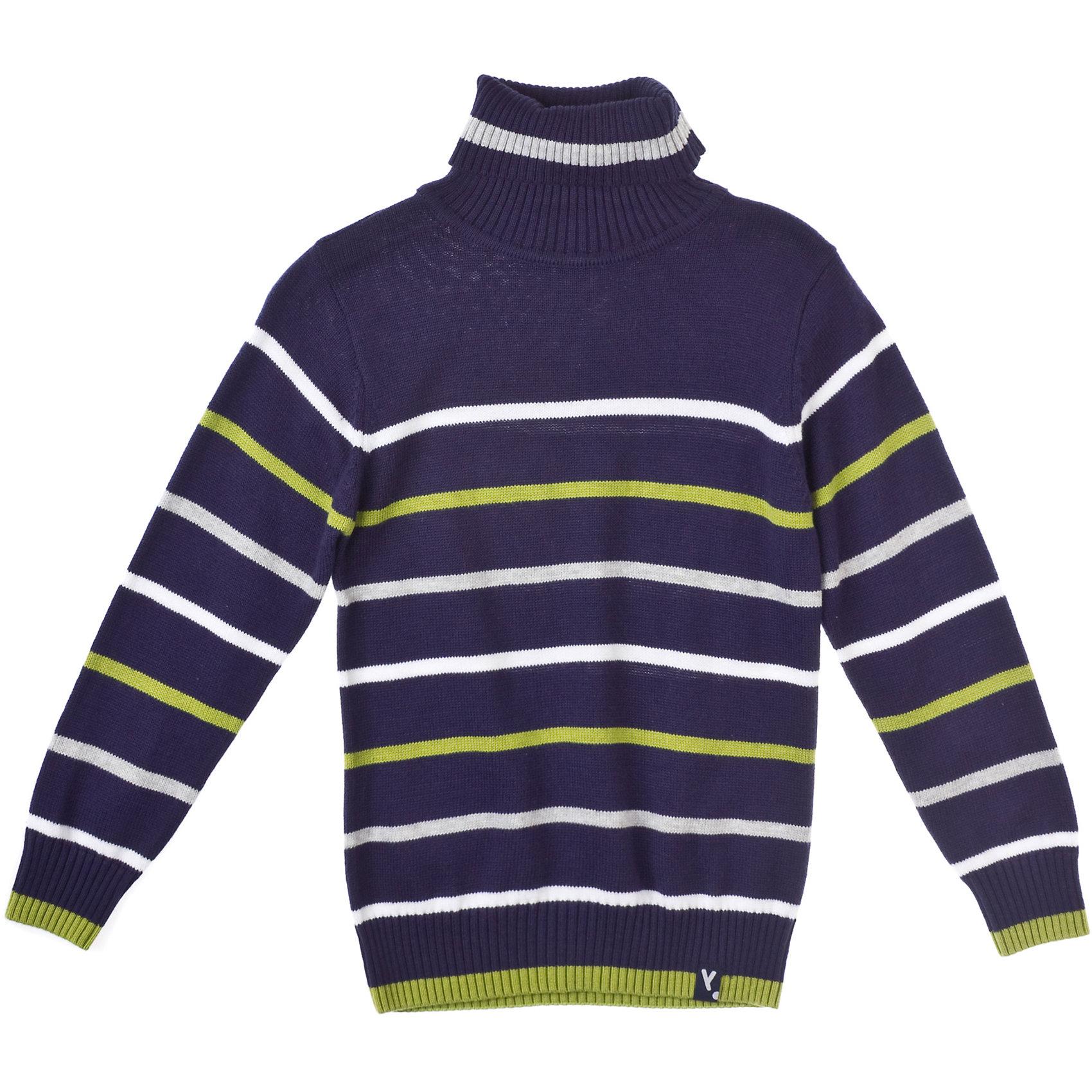 Свитер для мальчика PlayTodayСвитера и кардиганы<br>Джемпер для мальчика PlayToday Классический джемпер в полоску для повседневной носки. Высокий отложной воротник из трикотажной резинки. Состав: 80% хлопок, 18% нейлон, 2% эластан<br><br>Ширина мм: 190<br>Глубина мм: 74<br>Высота мм: 229<br>Вес г: 236<br>Цвет: полуночно-синий<br>Возраст от месяцев: 24<br>Возраст до месяцев: 36<br>Пол: Мужской<br>Возраст: Детский<br>Размер: 98,110,122,104,128,116<br>SKU: 4227671