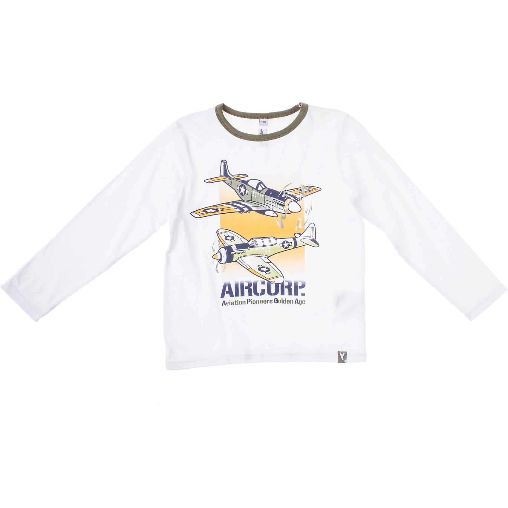 Футболка с длинным рукавом для мальчика PlayTodayФутболка для мальчика PlayToday Белая футболка  с изображением самолетов. Горловина  изделия обработана бейкой контрастного цвета. Состав: 95% хлопок, 5% эластан<br><br>Ширина мм: 199<br>Глубина мм: 10<br>Высота мм: 161<br>Вес г: 151<br>Цвет: белый<br>Возраст от месяцев: 24<br>Возраст до месяцев: 36<br>Пол: Мужской<br>Возраст: Детский<br>Размер: 98,116,128,122,110,104<br>SKU: 4227727