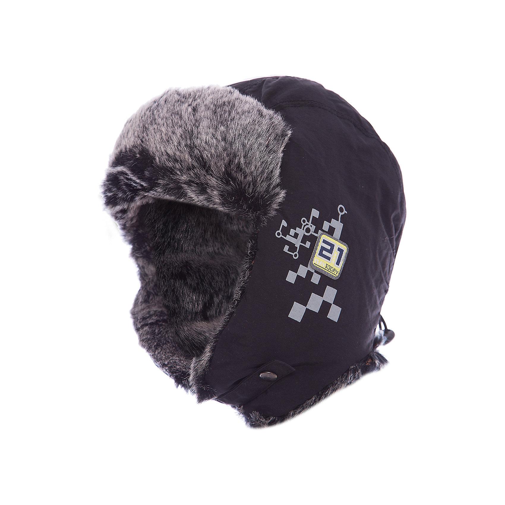 Шапка для мальчика PlayTodayДемисезонные<br>Шапка для мальчика PlayToday Теплая шапка-ушанка на подкладке из флиса. Декорирована искусственным мехом. Состав: Верх: 100% полиэстер, Подкладка: 100% полиэстер Наполнитель: 100% полиэстер<br><br>Ширина мм: 89<br>Глубина мм: 117<br>Высота мм: 44<br>Вес г: 155<br>Цвет: черный<br>Возраст от месяцев: 24<br>Возраст до месяцев: 36<br>Пол: Мужской<br>Возраст: Детский<br>Размер: 50,54,52<br>SKU: 4227816