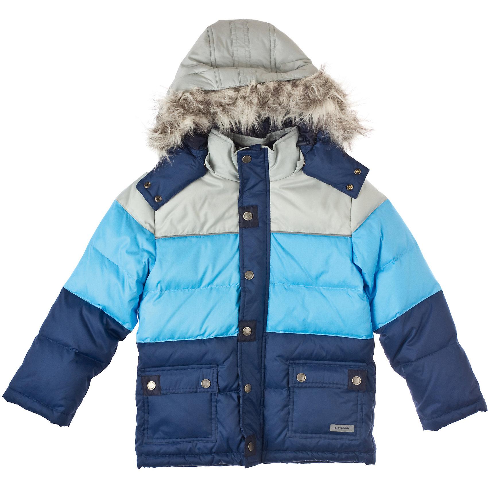 Куртка для мальчика PlayTodayВерхняя одежда<br>Куртка для мальчика PlayToday Теплая куртка на флисовой подкладкой из непромокаемой ткани. Украшена искусственным мехом. Капюшон отстегивается. Есть дополнительная защита от ветра и два кармана на пуговицах. Состав: Верх: 100% нейлон,  подкладка: 100% полиэстер, наполнитель: 80% пух, 20% перо<br><br>Ширина мм: 356<br>Глубина мм: 10<br>Высота мм: 245<br>Вес г: 519<br>Цвет: серый/синий<br>Возраст от месяцев: 36<br>Возраст до месяцев: 48<br>Пол: Мужской<br>Возраст: Детский<br>Размер: 104,98,122,110,128,116<br>SKU: 4227828