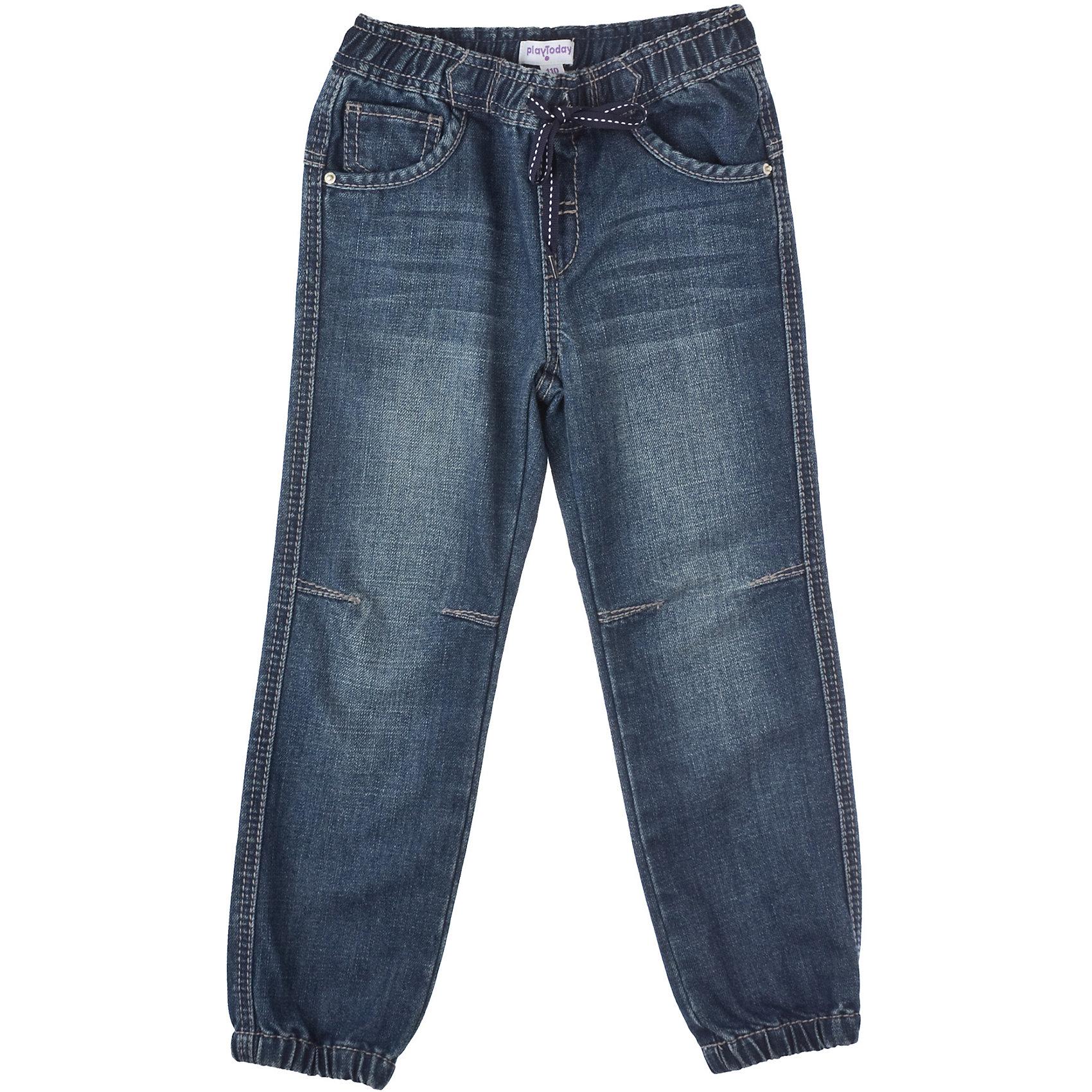 Джинсы для мальчика PlayTodayДжинсовая одежда<br>Джинсы для мальчика PlayToday Классические прямые джинсы. Пять карманов, на поясе широкая резинка. Эффект потертости. Состав: 78% хлопок, 22% полиэстер<br><br>Ширина мм: 215<br>Глубина мм: 88<br>Высота мм: 191<br>Вес г: 336<br>Цвет: синий<br>Возраст от месяцев: 24<br>Возраст до месяцев: 36<br>Пол: Мужской<br>Возраст: Детский<br>Размер: 98,110,128,122,116,104<br>SKU: 4227884