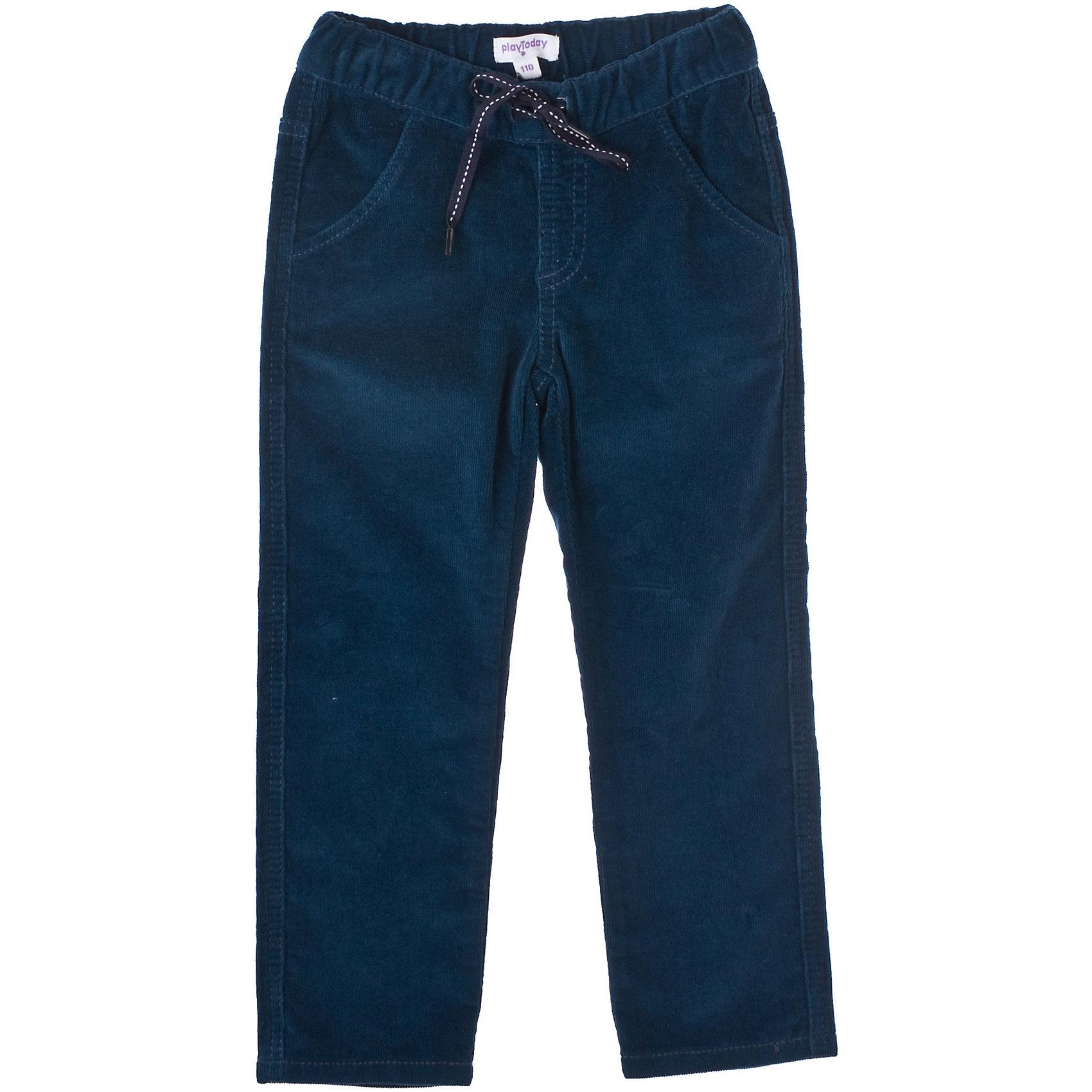 Брюки для мальчика PlayTodayБрюки<br>Брюки для мальчика PlayToday Вельветовые хлопковые брюки. Четыре кармана, на поясе широкая трикотажная резинка. Очень мягкие и приятные на ощупь. Ткань плотная, но эластичная. Состав: 98% хлопок, 2% эластан<br><br>Ширина мм: 215<br>Глубина мм: 88<br>Высота мм: 191<br>Вес г: 336<br>Цвет: темно-синий<br>Возраст от месяцев: 24<br>Возраст до месяцев: 36<br>Пол: Мужской<br>Возраст: Детский<br>Размер: 104,116,128,122,110,98<br>SKU: 4227891