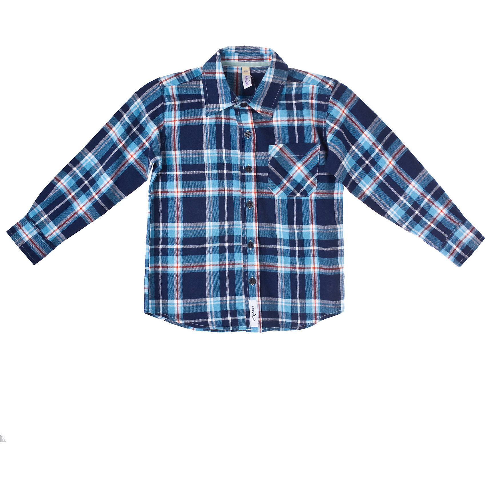 Рубашка для мальчика PlayTodayСорочка для мальчика PlayToday Классическая байковая рубашка в клетку на пуговицах. Отложной воротничок, манжеты на пуговицах. На полочке - функциональный накладной карман. Состав: 100% хлопок<br><br>Ширина мм: 281<br>Глубина мм: 70<br>Высота мм: 188<br>Вес г: 295<br>Цвет: синий<br>Возраст от месяцев: 24<br>Возраст до месяцев: 36<br>Пол: Мужской<br>Возраст: Детский<br>Размер: 98,104,116,122,110,128<br>SKU: 4227905