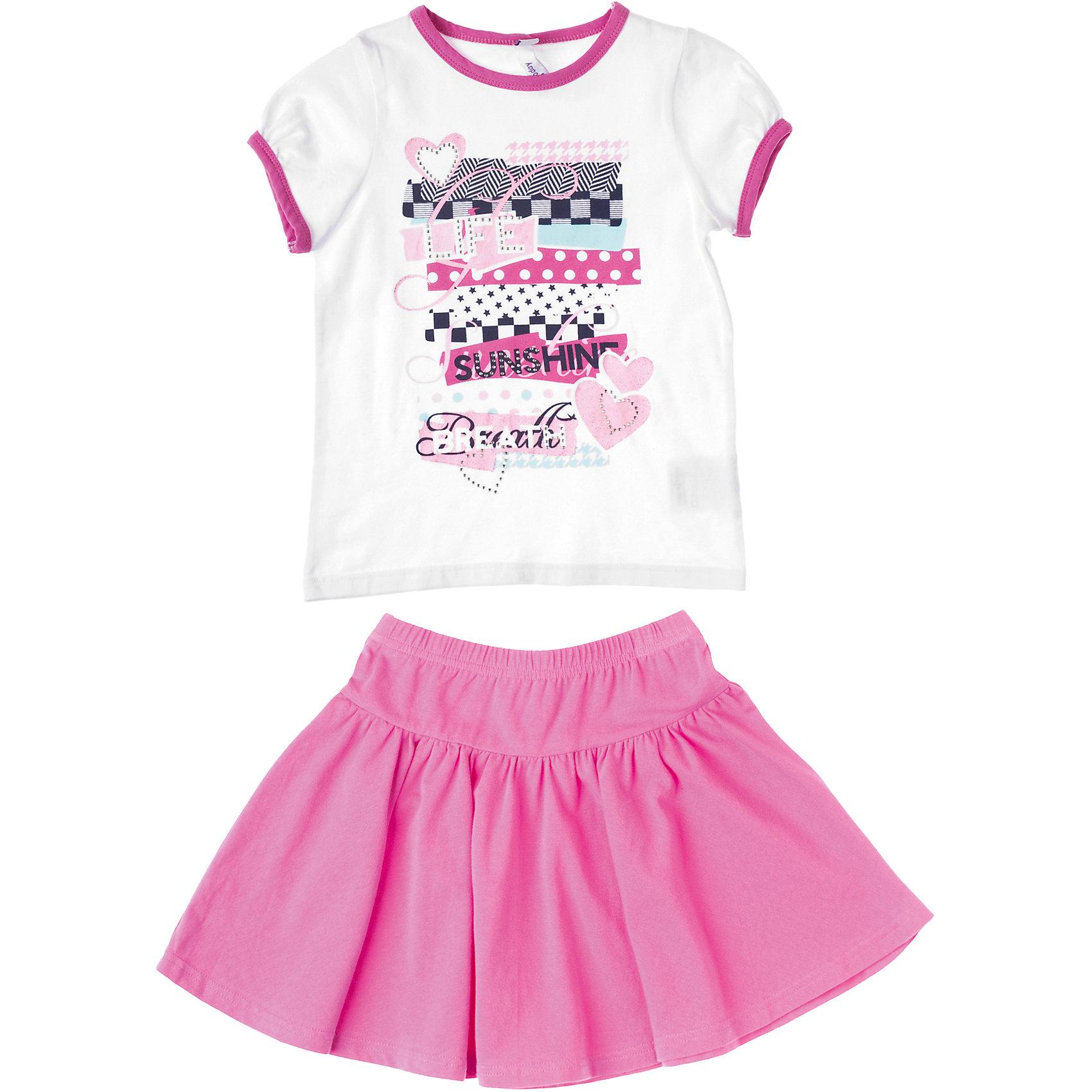Комплект: футболка и юбка для девочки PlayTodayКомплекты<br>Комплект: футболка и юбка для девочки PlayToday Нежный хлопковый комплект из юбки и футболки, декорированной стразами, блестками и красочным принтом. Юбка на широкой резинке. Состав: 95% хлопок, 5% эластан<br><br>Ширина мм: 190<br>Глубина мм: 74<br>Высота мм: 229<br>Вес г: 236<br>Цвет: белый/розовый<br>Возраст от месяцев: 24<br>Возраст до месяцев: 36<br>Пол: Женский<br>Возраст: Детский<br>Размер: 98,122,128,116,110,104<br>SKU: 4228070