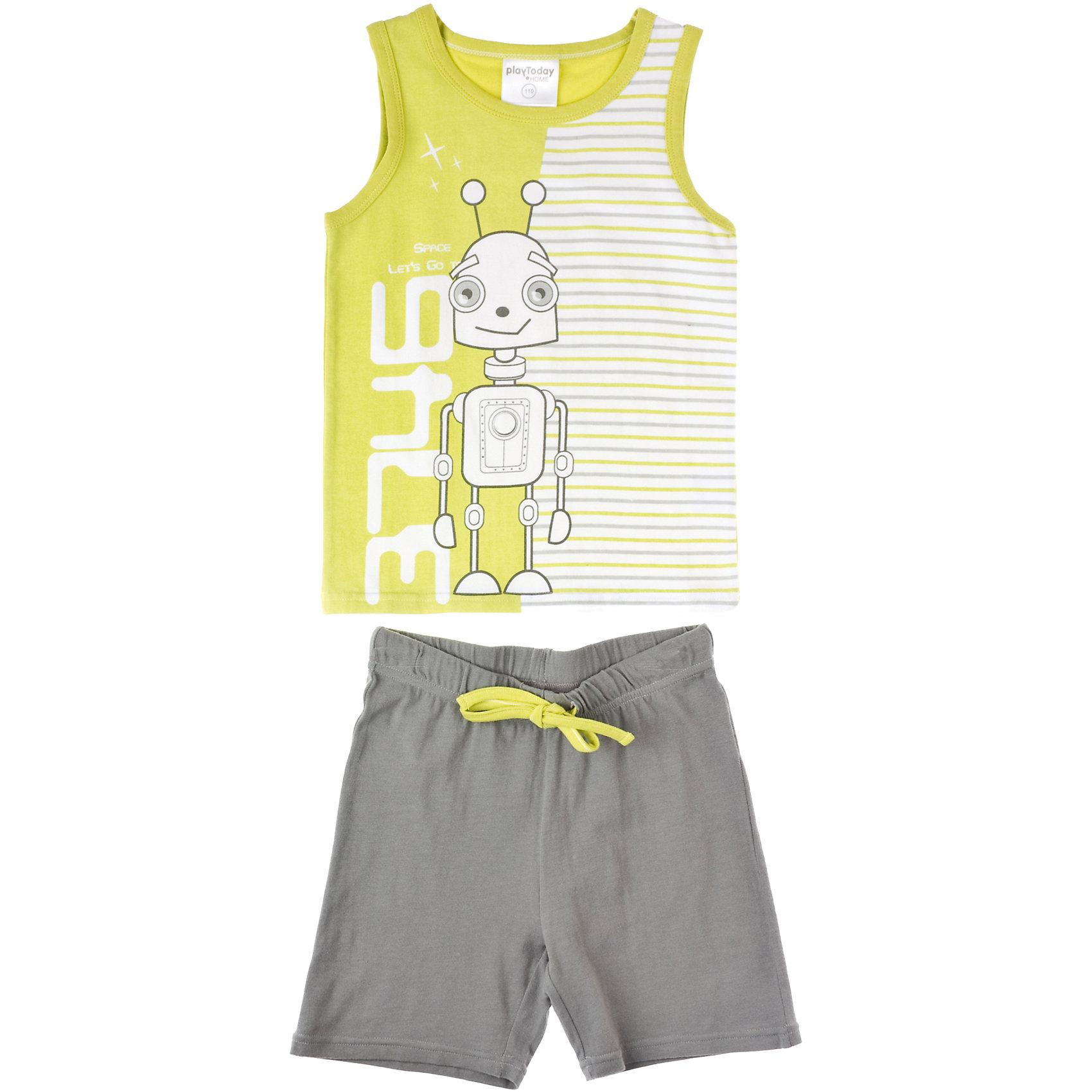 Пижама для мальчика PlayTodayПижамы и сорочки<br>Пижама для мальчика PlayToday Хлопковая пижама: майка и шорты. Качественный и легкий материал. Хороший выбор, если в доме всегда тепло. Состав: 95% хлопок, 5% эластан<br><br>Ширина мм: 281<br>Глубина мм: 70<br>Высота мм: 188<br>Вес г: 295<br>Цвет: серый<br>Возраст от месяцев: 24<br>Возраст до месяцев: 36<br>Пол: Мужской<br>Возраст: Детский<br>Размер: 128,98,122,116,110,104<br>SKU: 4228895