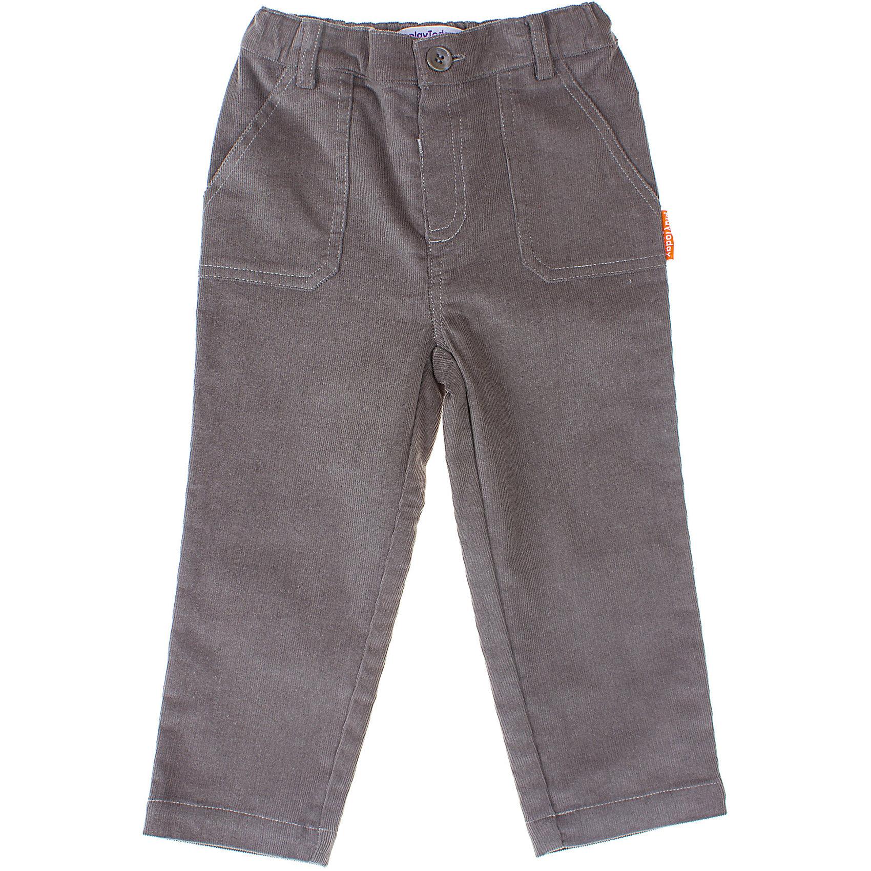 Брюки для мальчика PlayTodayБрюки<br>Брюки для мальчика PlayToday Прямые вельветовые штаны. Спереди есть два кармана. На поясе широкая резинка, размер которой можно регулировать. Состав: 98% хлопок, 2% эластан<br><br>Ширина мм: 215<br>Глубина мм: 88<br>Высота мм: 191<br>Вес г: 336<br>Цвет: бежевый<br>Возраст от месяцев: 6<br>Возраст до месяцев: 9<br>Пол: Мужской<br>Возраст: Детский<br>Размер: 74,92,86,80<br>SKU: 4228994