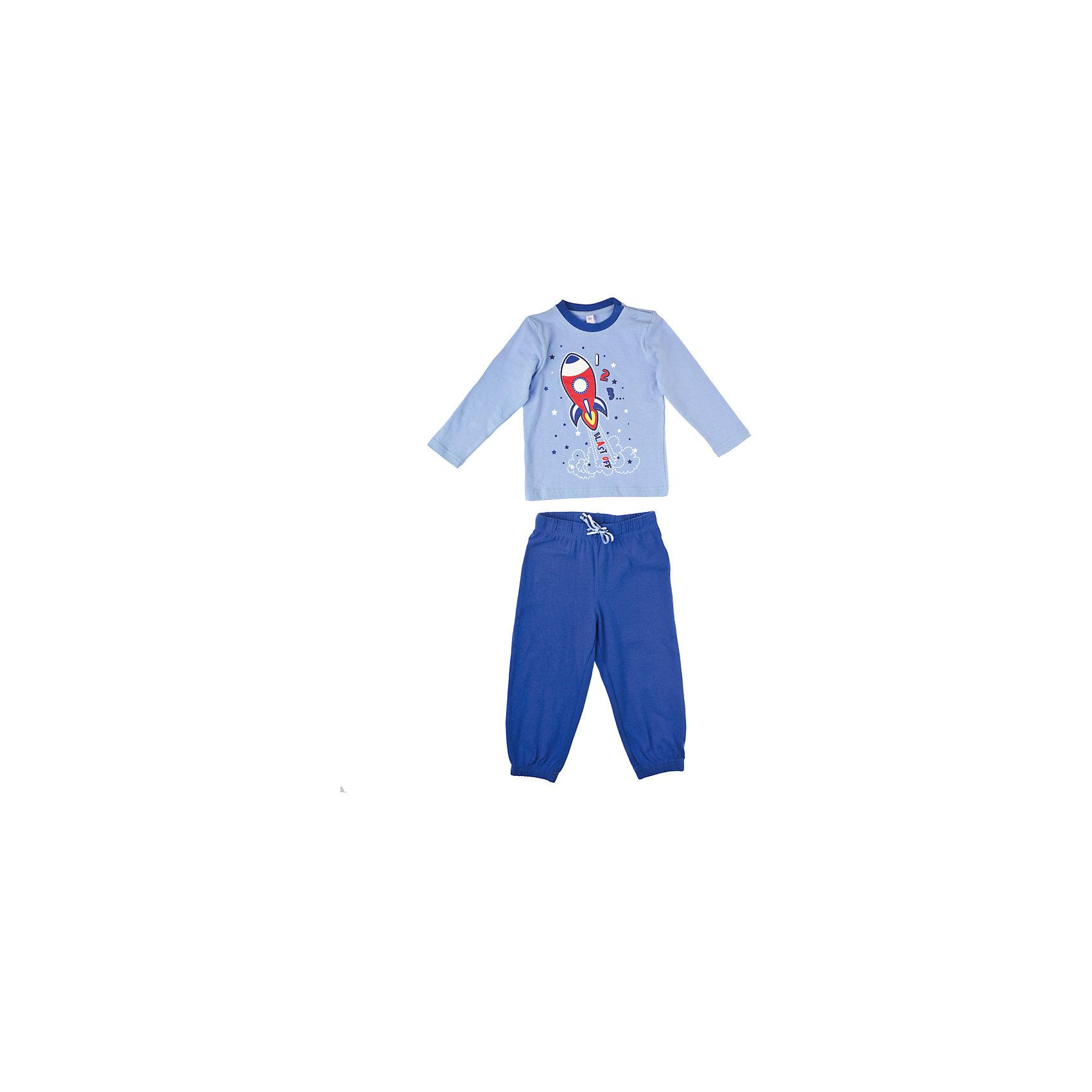 Пижама для мальчика PlayTodayКомплект для мальчика PlayToday Удобная пижама из эко-хлопка. Практична благодаря добавлению эластана — не растянется даже при ежедневной носке. Декорирована принтом на космическую тему. Состав: 95% хлопок, 5% эластан<br><br>Ширина мм: 190<br>Глубина мм: 74<br>Высота мм: 229<br>Вес г: 236<br>Цвет: голубой/синий<br>Возраст от месяцев: 6<br>Возраст до месяцев: 9<br>Пол: Мужской<br>Возраст: Детский<br>Размер: 74,86,92,80<br>SKU: 4229132