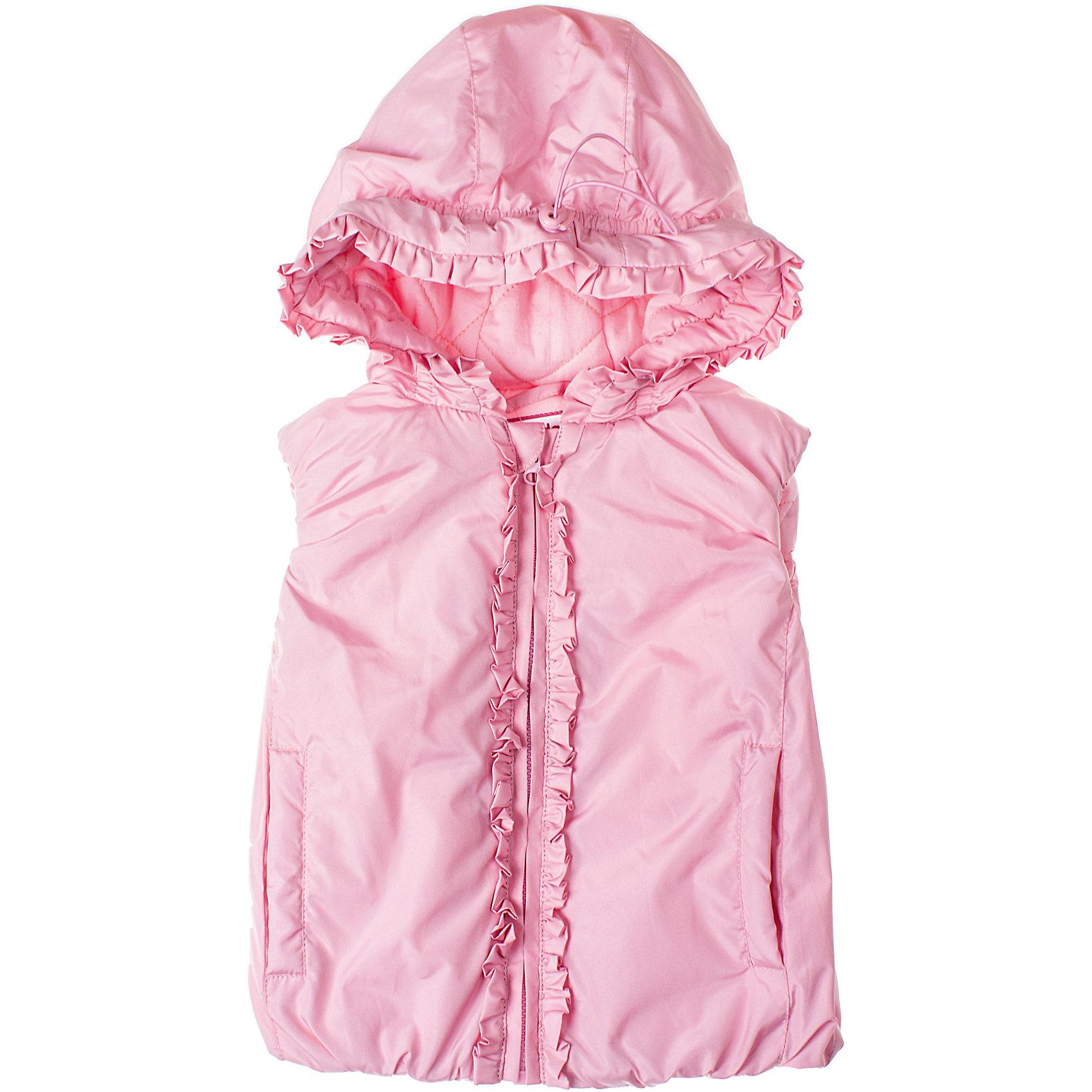 Жилет для девочки PlayTodayЖилет для девочки PlayToday Модная безрукавка на молнии для ранней осени. Есть мягкая трикотажная подкладка, два кармана и капюшон. Рукава, низ и капюшон обрамлены резинкой для большего удобства. Состав: Верх: 100% полиэстер, подкладка: 60% хлопок, 40% полиэстер, наполнитель: 100% полиэстер<br><br>Ширина мм: 356<br>Глубина мм: 10<br>Высота мм: 245<br>Вес г: 519<br>Цвет: розовый<br>Возраст от месяцев: 6<br>Возраст до месяцев: 9<br>Пол: Женский<br>Возраст: Детский<br>Размер: 80,86,74,92<br>SKU: 4229228