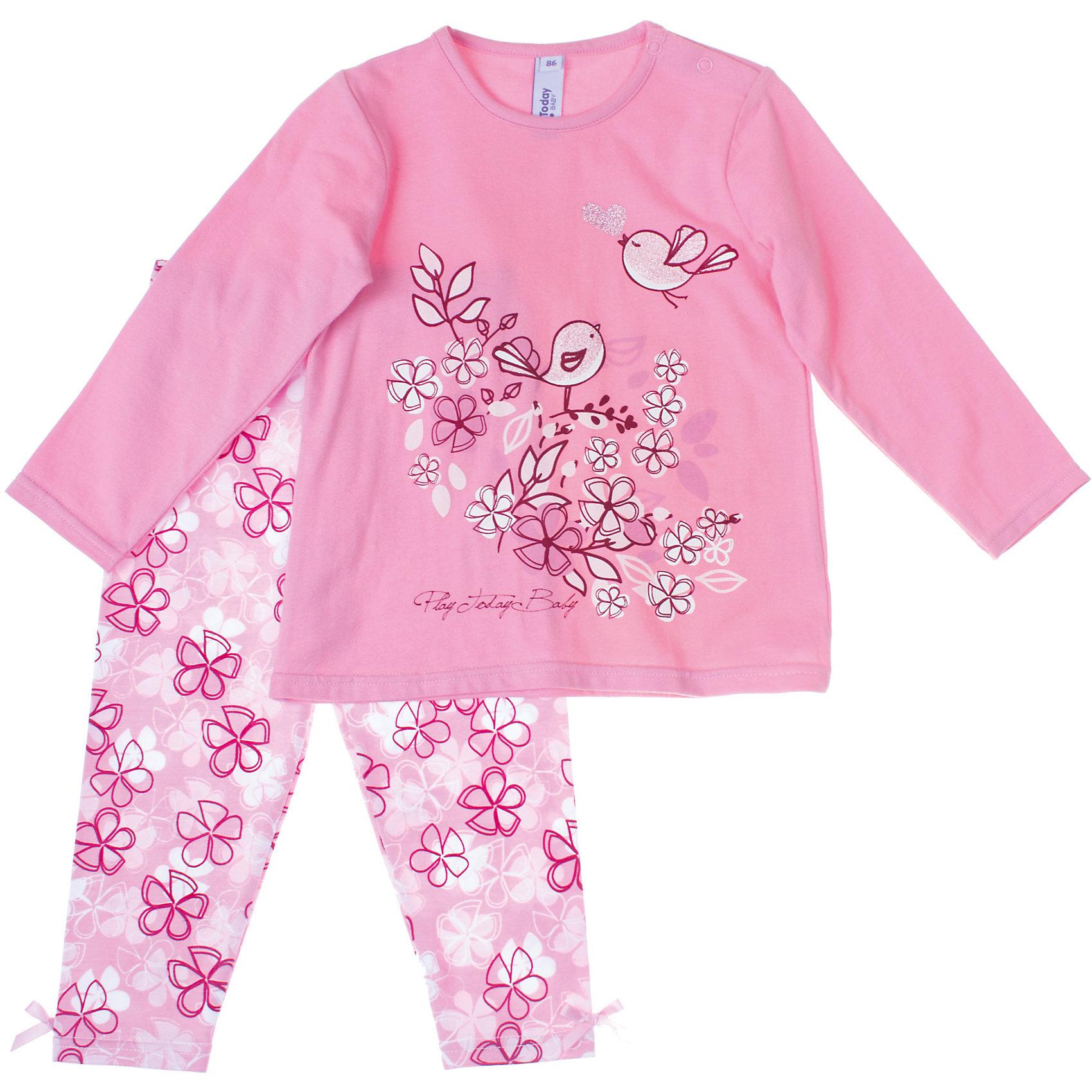 Пижама для девочки PlayTodayПижамы и сорочки<br>Пижама для девочки PlayToday Яркая хлопковая пижама. Есть застежки-кнопки на плече. Украшена красочным принтом и блестками. Состав: 95% хлопок, 5% эластан<br><br>Ширина мм: 281<br>Глубина мм: 70<br>Высота мм: 188<br>Вес г: 295<br>Цвет: розовый/белый<br>Возраст от месяцев: 6<br>Возраст до месяцев: 9<br>Пол: Женский<br>Возраст: Детский<br>Размер: 74,92,86,80<br>SKU: 4229292