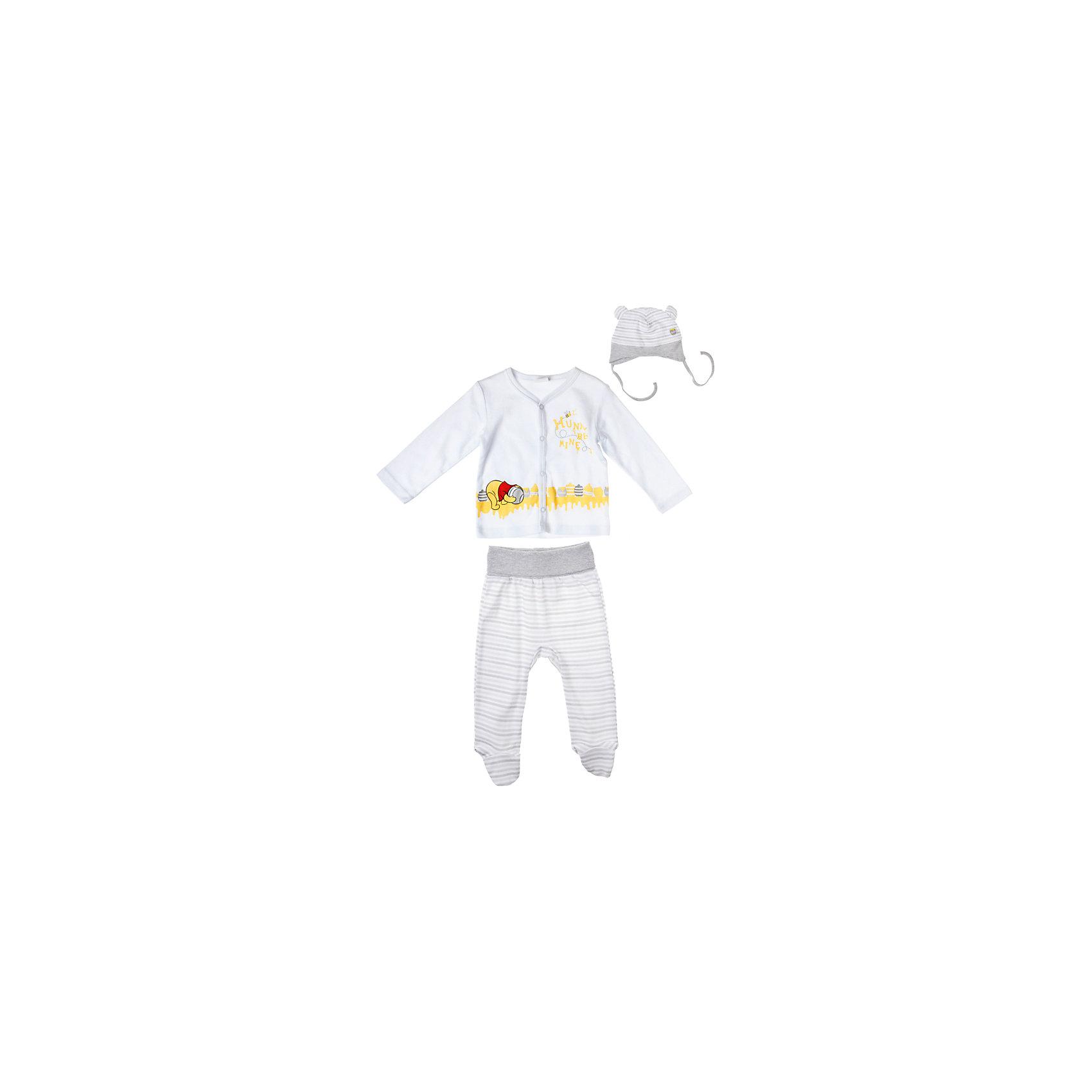 Комплект: толстовка и брюки для мальчика PlayTodayКомплект: толстовка и брюки для мальчика PlayToday Комплект из толстовки на кнопках, свободных штанишек с носочками и чепчика для новорожденных из стопроцентного хлопка. Состав: 100% хлопок<br><br>Ширина мм: 190<br>Глубина мм: 74<br>Высота мм: 229<br>Вес г: 236<br>Цвет: серый<br>Возраст от месяцев: 0<br>Возраст до месяцев: 3<br>Пол: Мужской<br>Возраст: Детский<br>Размер: 56,68,74,62<br>SKU: 4229693