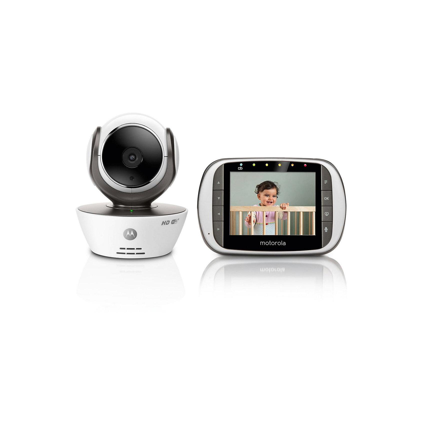 """Видеоняня Wi-Fi камера MBP853CONNECT Motorola, белыйВидеоняня Motorola MBP853 Connect  - прекрасный вариант для малышей и их родителей! Удаленный доступ к камере через интернет позволяет смотреть потоковое видео в формате HD 720p в режиме реального времени. Имеется два режима передачи данных: по стандарту FHSS 2,4GHz или по сети WiFi, также есть  возможность подключения к ТВ или к монитору. Видеоняня имеет встроенный Wifi, обладает мощной инфракрасной ночной подсветкой, обеспечивающей отличную видимость на расстоянии  до 5 метров в полной темноте, есть датчик комнатной температуры. Есть функция оповещения при обнаружении движения, дистанционное масштабирование, изменение положения и угла камеры.<br><br>Дополнительная информация:<br><br>- Материал: пластик, металл.<br>- Работает от сети или батареек (аккумуляторов).<br>- Комплектация: приемное устройство с экраном; беспроводная видеокамера; адаптеры питания для видеокамеры и передающего устройства от сети 220В;<br>аккумуляторная батарея Ni-MH приемника видеоняни.<br>руководство пользователя на русском языке.<br>- Подключение до 4 независимых камер с возможностью их одновременного просмотра.<br>- Радиус действия: 300м.<br>- Угол обзора камеры: 65°<br>- Ночной режим.<br>- 8 уровней громкости и яркости.<br>- Функция снимок изображения/запись видео.<br>- Функция оповещения при обнаружении движения.<br>- Датчик комнатной температуры и система оповещения.<br>- Стандарт сжатия видео H.264.<br>- Сжатие изображения - MJPEG;<br>- Цветной LCD дисплей, диагональ 3.5"""".<br>- Разрешение экрана 320 x 240 QVGA.<br>- Двусторонняя аудио связь.<br>- Работает с помощью бесплатного приложения «Hubble for Motorola Monitors».<br>- Колыбельные мелодии.<br>- Цвет: белый.<br>- Встроенный Wifi.<br>- Дистанционное масштабирование, изменение положения и угла камеры.<br>- Функция «Путешествие во времени» (опция будет доступна за дополнительную плату.)<br><br>Видеоняню, Wi-Fi камеру, MBP853CONNECT Motorola, белую, можно купить в нашем магазине.<br>"""