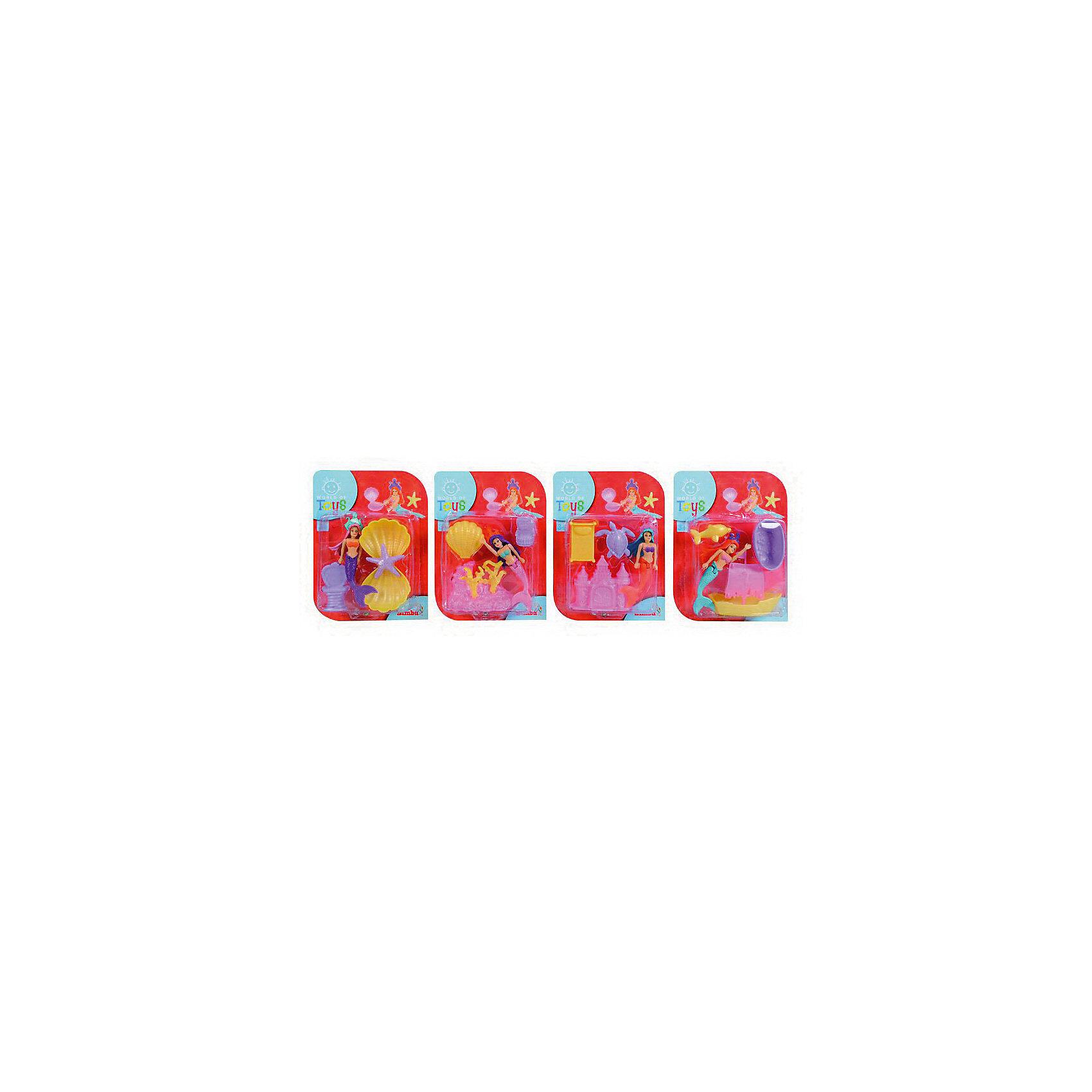 Набор Русалочка с аксессуарами, 12см, SimbaНабор Русалочка с аксессуарами, Simba (Симба), непременно понравится Вашей маленькой принцессе. Игрушка замечательно подойдет как для множества сюжетно-ролевых игр так и для веселого купания в ванной. В комплекте Вы найдете красивую фигурку Русалочки и различные аксессуары к ней. У Русалочки подвижные ручки, голова и хвост. Все предметы набора выполнены из прочной пластмассы, безопасной для детского здоровья. В ассортименте 4 вида русалочек отличающихся аксессуарами и цветом.<br><br>Дополнительная информация:<br><br>- Материал: пластик. <br>- Высота куклы: 12 см.<br>- Размер упаковки: 14,5 х 3,4 х 19,5 см.<br>- Вес: 77 гр. <br><br>ВНИМАНИЕ! Данный артикул имеется в наличии в разных вариантах исполнения. Заранее выбрать определенный вариант нельзя. При заказе нескольких наборов возможно получение одинаковых.<br><br>Набор Русалочка с аксессуарами, Simba (Симба), можно купить в нашем интернет-магазине.<br><br>Ширина мм: 150<br>Глубина мм: 200<br>Высота мм: 40<br>Вес г: 77<br>Возраст от месяцев: 36<br>Возраст до месяцев: 72<br>Пол: Унисекс<br>Возраст: Детский<br>SKU: 4231579