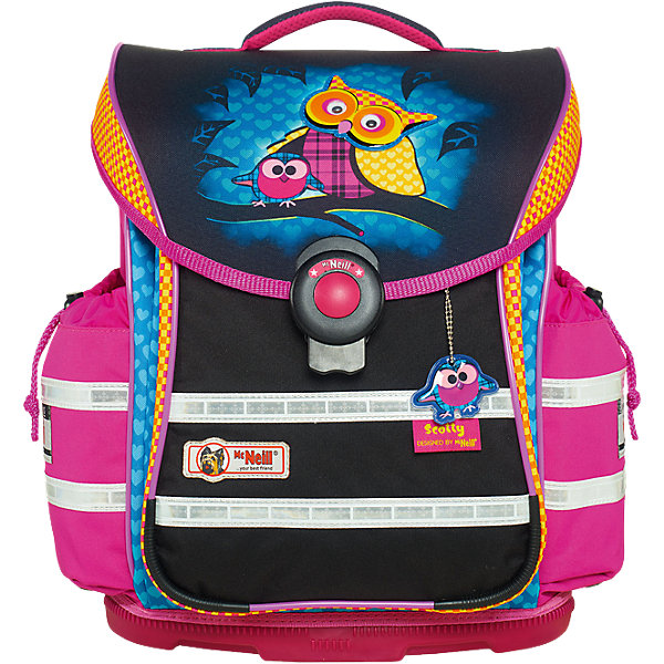 Школьный рюкзак MC Neill ERGO Light PLUS (4 пр.) СкоттиРанцы<br>Вместимость 20 л,  вес ранца 1050 гр, удобный магнитный замок, боковые  карманы на кулиске регулируются ограничителями, дно из особо прочного пластика, ортопедическая спина, регулируемые ремни на мягких подушках. В наборе  пенал с наполнением, пенал-тубус, сумка для обуви и спорта.     30*41*20 см<br><br>Ширина мм: 433<br>Глубина мм: 345<br>Высота мм: 279<br>Вес г: 1777<br>Возраст от месяцев: 72<br>Возраст до месяцев: 120<br>Пол: Женский<br>Возраст: Детский<br>SKU: 4231676