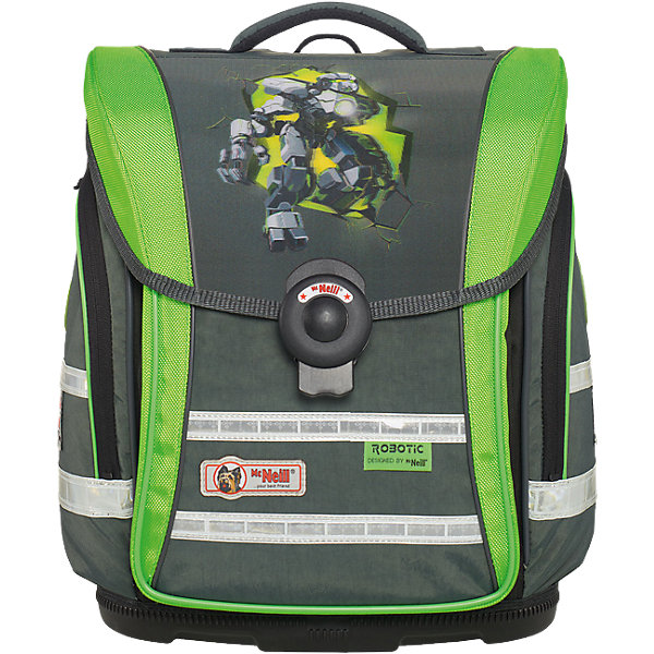 Школьный рюкзак MC Neill ERGO Light COMPACT (4 пр.) РоботэкРанцы<br>Новое в ранцах McNeill ERGO Light COMPACT - Система SmartFlex –  изменяющаяся по высоте несущая система с 3-х точечной эргономикой. Вместимость 19,5 л,  вес ранца 1100 гр, удобный замок, боковые потайные карманы на молниях, дно из особо прочного пластика, ортопедическая спина, регулируемые ремни на мягких подушках.  В наборе  пенал с наполнением, пенал-тубус, сумка для обуви и спорта.     31*38*20см<br>Ширина мм: 433; Глубина мм: 349; Высота мм: 261; Вес г: 2119; Возраст от месяцев: 72; Возраст до месяцев: 120; Пол: Мужской; Возраст: Детский; SKU: 4231703;