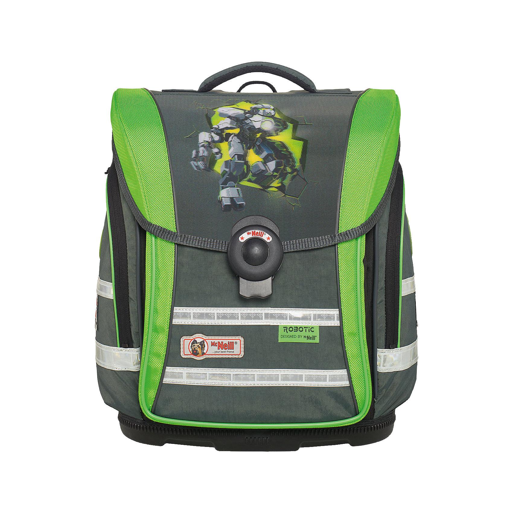 MC Neill Школьный рюкзак ERGO Light COMPACT (4 пр.) РоботэкРанцы<br>Новое в ранцах McNeill ERGO Light COMPACT - Система SmartFlex –  изменяющаяся по высоте несущая система с 3-х точечной эргономикой. Вместимость 19,5 л,  вес ранца 1100 гр, удобный замок, боковые потайные карманы на молниях, дно из особо прочного пластика, ортопедическая спина, регулируемые ремни на мягких подушках.  В наборе  пенал с наполнением, пенал-тубус, сумка для обуви и спорта.     31*38*20см<br><br>Ширина мм: 433<br>Глубина мм: 349<br>Высота мм: 261<br>Вес г: 2119<br>Возраст от месяцев: 60<br>Возраст до месяцев: 120<br>Пол: Мужской<br>Возраст: Детский<br>SKU: 4231703
