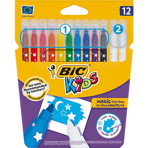 Фломастеры Bic Magic смываемые (10 цветов + 2 обесцвечивающих)Фломастеры<br>Фломастеры BIC KIDS MAGIC на водной основе (без спирта) имеют специальные чернила позволяют исправлять ошибки и создавать специальные эффекты. Быстро смывается с рук и одежды. Линии средней толщины – 0.8 мм. Блокированный пишущий узелчто позволяет грифелю не вдавливаться  даже при сильном детском нажатии. Сделаны во Франции. В упаковке 10 цветов + 2 белых фломастера.<br>Ширина мм: 186; Глубина мм: 147; Высота мм: 15; Вес г: 92; Возраст от месяцев: 60; Возраст до месяцев: 96; Пол: Унисекс; Возраст: Детский; SKU: 4231709;