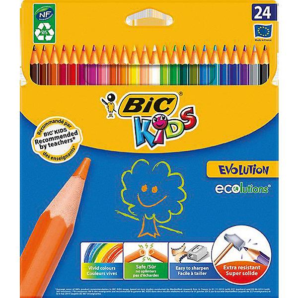 Цветные карандаши  Evolution Kids, 24 цв., BICПисьменные принадлежности<br>Цветные заточенные карандаши специально для маленьких детей. Грифели не ломаются при падении. Удобное, легкое использование, без сильного надавливания.<br>Такой набор карандашей будет прекрасным подарком для Вашего ребенка!<br><br>Дополнительная информация:<br><br>- В наборе 24 цвета.<br>- Материал корпуса - пластик.<br>- Ударопрочный грифель.<br>- Шестигранный корпус.<br>- Заточенные наконечники.<br><br>Купить цветные карандаши  Evolution Kids BIC   можно в нашем магазине.<br>Ширина мм: 215; Глубина мм: 182; Высота мм: 12; Вес г: 127; Возраст от месяцев: 60; Возраст до месяцев: 96; Пол: Унисекс; Возраст: Детский; SKU: 4231713;