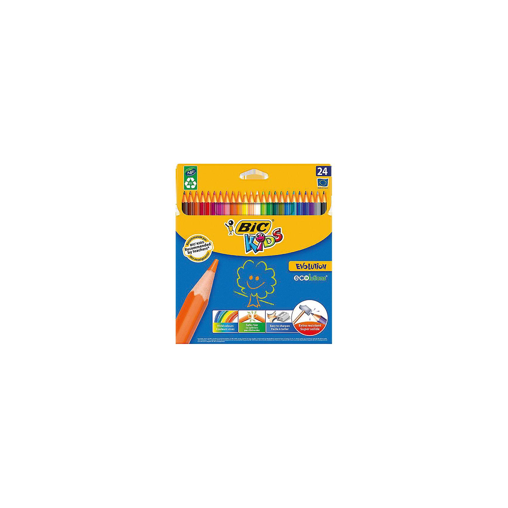 Цветные карандаши  Evolution Kids, 24 цв., BICПисьменные принадлежности<br>Цветные заточенные карандаши специально для маленьких детей. Грифели не ломаются при падении. Удобное, легкое использование, без сильного надавливания.<br>Такой набор карандашей будет прекрасным подарком для Вашего ребенка!<br><br>Дополнительная информация:<br><br>- В наборе 24 цвета.<br>- Материал корпуса - пластик.<br>- Ударопрочный грифель.<br>- Шестигранный корпус.<br>- Заточенные наконечники.<br><br>Купить цветные карандаши  Evolution Kids BIC   можно в нашем магазине.<br><br>Ширина мм: 211<br>Глубина мм: 187<br>Высота мм: 12<br>Вес г: 147<br>Возраст от месяцев: 60<br>Возраст до месяцев: 96<br>Пол: Унисекс<br>Возраст: Детский<br>SKU: 4231713