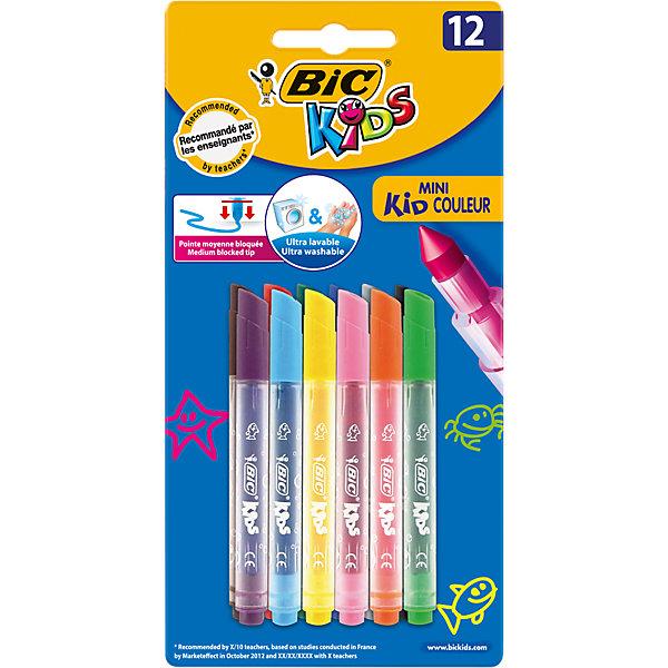 Фломастеры BIC Mini Kid Couleur, 12 цветовФломастеры<br>Цветные фломастеры  на водной основе  BIC KIDS Mini KID COULEUR, имеют вентилируемый колпачок, ультра-смываемые и яркие.<br>Блокированный средний пишущий узел, что позволяет грифелю не вдавливаться  даже при сильном детском нажатии. Идеально подходят для раскрашивания &amp; рисования. 12 цветов. Целевая группа : 3-8 лет. Сделаны во Франции. В упаковке 12 фломастеров мини формата.<br>Ширина мм: 202; Глубина мм: 101; Высота мм: 25; Вес г: 68; Возраст от месяцев: 36; Возраст до месяцев: 60; Пол: Унисекс; Возраст: Детский; SKU: 4231718;