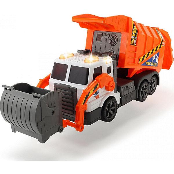 Мусоровоз, 41 см, Dickie ToysМашинки<br>Характеристики:<br><br>• длина мусоровоза: 41 см;<br>• световые и звуковые эффекты;<br>• особенности мусоровоза: откидывается кузов, открывается задняя панель, поднимается наверх и опустошается мусорный бак;<br>• материал: пластик;<br>• размер упаковки: 45,3х23,5х15,2 см.<br><br>Функциональный мусоровоз с работающим мотором, светом фар и проблесковыми маячками оснащен подвижными элементами. Малыш освоит, каким образом поднимается и освобождается мусорный бак, как поднимается и опустошается кузов мусоровоза. Сюжетно-ролевые игры благоприятно сказываются на развитии фантазии и воображения. <br><br>Мусоровоз, 41 см, Dickie Toys можно купить в нашем магазине.<br><br>Ширина мм: 152<br>Глубина мм: 453<br>Высота мм: 235<br>Вес г: 1524<br>Возраст от месяцев: 36<br>Возраст до месяцев: 84<br>Пол: Мужской<br>Возраст: Детский<br>SKU: 4231859