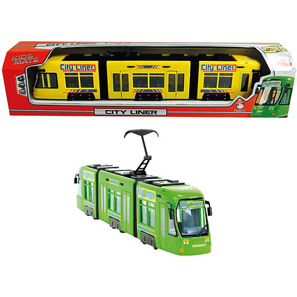 Городской трамвай, 46 см, DickieМашинки<br>Почувствуй себя водителем трамвая, прыгай в кабину, выбирай маршрут, закрывай двери - и вперед! Не забудь объявлять остановки. Игрушка выполнена из прочных экологичных материалов, в производстве которых использованы нетоксичные, безопасные красители. <br><br>Дополнительная информация:<br><br>- Материал: пластик.<br>- Размер: 46 см.<br>- Двери открываются. <br>- Подвижные колеса. <br><br>Городской трамвай, 46 см, Dickie (Дикки), можно купить в нашем магазине.<br><br>Ширина мм: 78<br>Глубина мм: 543<br>Высота мм: 127<br>Вес г: 617<br>Возраст от месяцев: 36<br>Возраст до месяцев: 84<br>Пол: Мужской<br>Возраст: Детский<br>SKU: 4231864