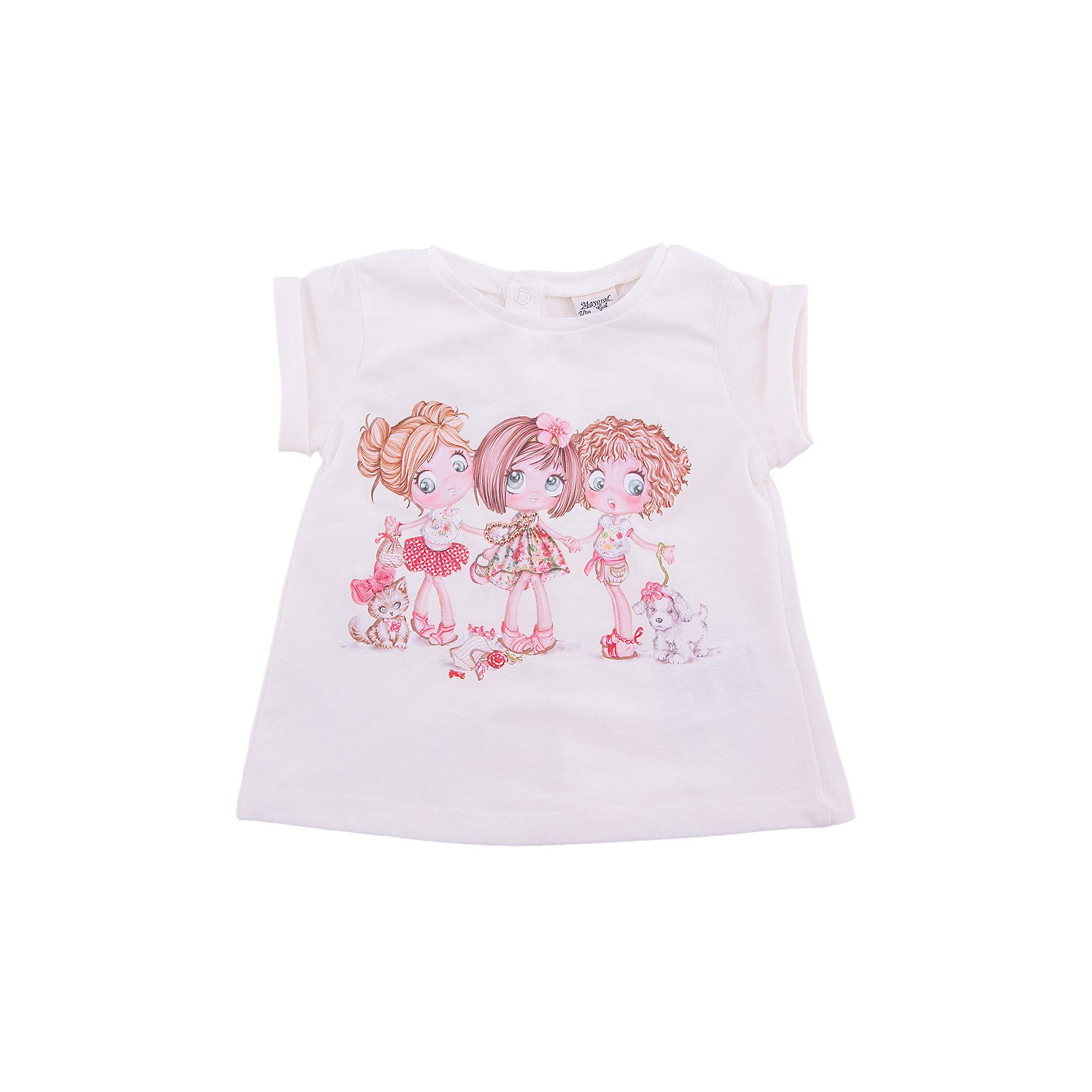 Футболка  MayoralФутболка для девочки от популярной испанской марки Mayoral.<br><br>Модная кремовая футболка от бренда Mayoral (Майорал) – отличный вариант летней одежды для девочек. Декорирована модель оригинальным принтом (девочки с щенками). Застегивается сзади на кнопки. На спинке - красиво присборена.<br>Продуманный крой и качественный материал обеспечивают комфорт для детей при ношении этой вещи. Натуральный хлопок в составе ткани футболки делает ее дышащей и приятной на ощупь.<br><br>Состав: 98% хлопок, 2% эластан.<br><br>Уход за изделием:<br><br>стирка в машине при температуре до 30°С,<br>не отбеливать,<br>гладить на низкой температуре.<br>Габариты:<br><br>длина по спинке – 32 см.<br><br>*Числовые параметры соответствуют росту 74<br><br>Футболку для девочки Mayoral (Майорал) можно купить в нашем магазине.<br><br>Ширина мм: 199<br>Глубина мм: 10<br>Высота мм: 161<br>Вес г: 151<br>Цвет: бежевый<br>Возраст от месяцев: 6<br>Возраст до месяцев: 9<br>Пол: Унисекс<br>Возраст: Детский<br>Размер: 74<br>SKU: 4232195