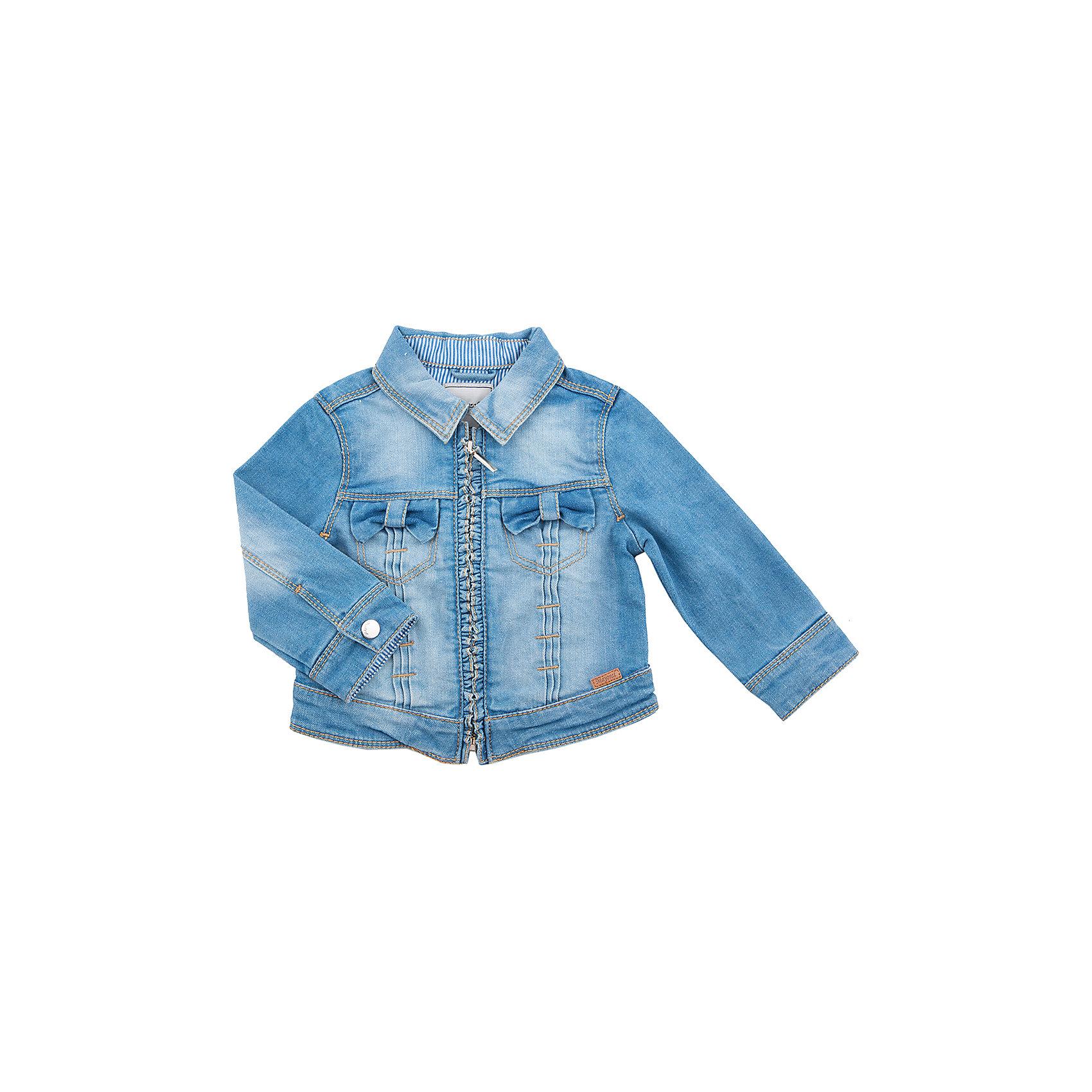 Куртка  MayoralКуртка для девочки от популярной испанской марки Mayoral.<br><br>Удобная джинсовая куртка от известного испанского бренда Mayoral – отличный вариант универсальной верхней одежды. Комфортный крой и качественный материал обеспечит комфорт при ношении этой вещи. Натуральный хлопок в составе изделия делает его дышащим и мягким.<br>Модель имеет следующие особенности:<br><br>- натуральная джинсовая ткань голубого цвета;<br>- эффект потертостей;<br>- застежка-молния;<br>- оборки.<br><br>Состав: 98% хлопок, 2% эластан<br><br>Уход за изделием:<br><br>стирка в машине при температуре до 30°С,<br>не отбеливать,<br>гладить на низкой температуре.<br> <br>Габариты:<br><br>длина рукава – 26 см,<br>длина по спинке – 25 см.<br><br>*Числовые параметры соответствуют росту 74<br><br>Куртку для девочки Mayoral (Майорал) можно купить в нашем магазине.<br><br>Ширина мм: 356<br>Глубина мм: 10<br>Высота мм: 245<br>Вес г: 519<br>Цвет: разноцветный<br>Возраст от месяцев: 9<br>Возраст до месяцев: 12<br>Пол: Унисекс<br>Возраст: Детский<br>Размер: 80,74<br>SKU: 4232304