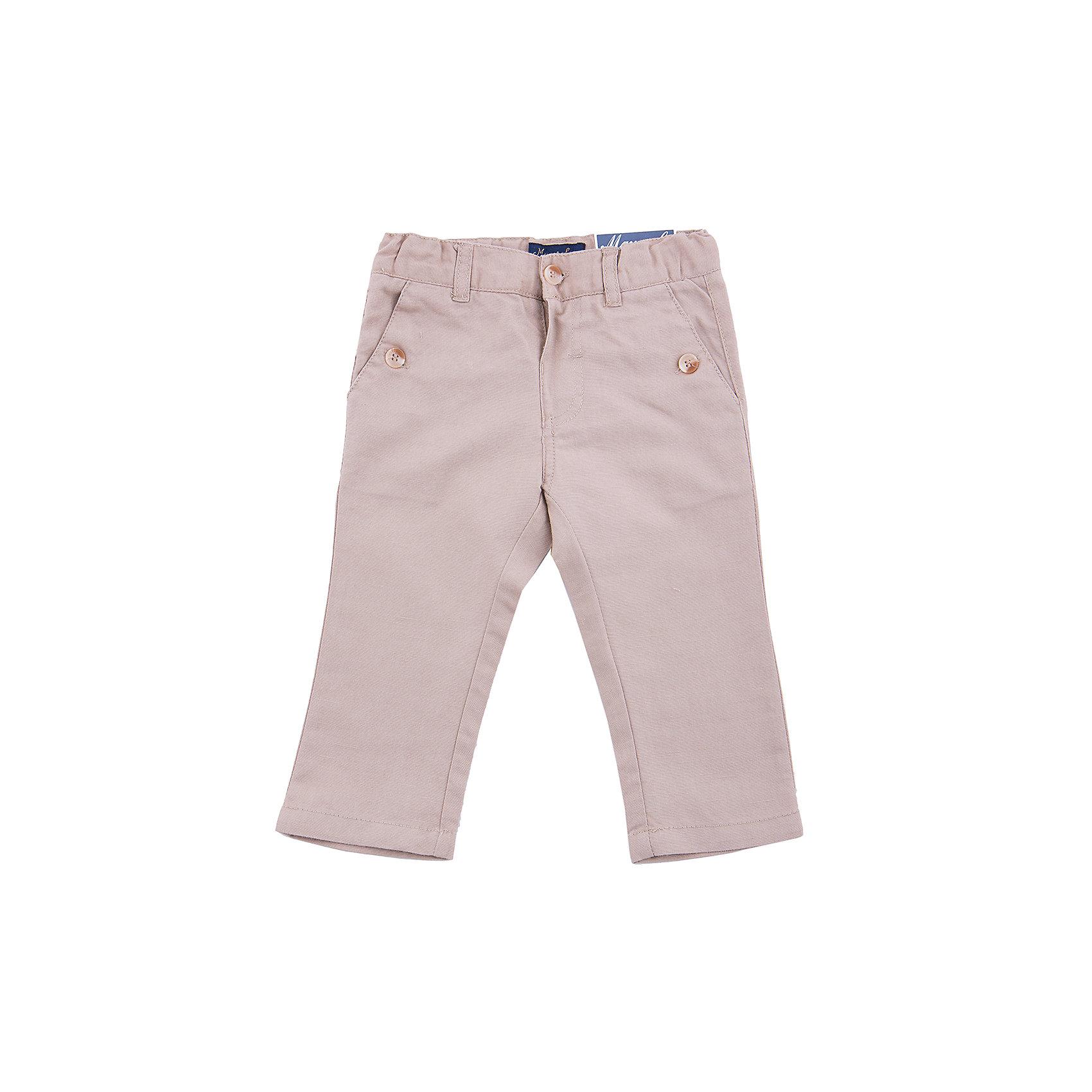 Брюки  MayoralБрюки для мальчика от популярной испанской марки Mayoral.<br><br>Стильные удобные брюки - отличный вариант одежды для нового весенне-летнего сезона. Изделие выполнено из бежевой легкой ткани. На брюках есть удобные функциональные карманы. Внутри - резинки для регулирования размера.<br><br>Одежда Mayoral делается из натуральных экологически чистых материалов, которые не вызывают аллергию. Каждая вещь тщательно проработана, как с точки зрения дизайна, так и в плане обработки каждого шва. Соотношение цена/качество у одежды от  Mayoral  без преувеличения можно назвать просто отличным. Изделия этого бренда и в нашей стране все больше завоевывают любовь детей и родителей, становясь признаком отличного вкуса.<br><br>Состав: 55% лен, 45% хлопок<br><br>Уход за изделием:<br><br>стирка в машине при температуре до 30°С,<br>не отбеливать,<br>гладить на низкой температуре.<br> <br>Габариты:<br><br>длина штанин по внутреннему шву – 25 см.<br><br>*Числовые параметры соответствуют росту 74<br><br>Брюки для мальчика Mayoral (Майорал) можно купить в нашем магазине.<br><br>Ширина мм: 215<br>Глубина мм: 88<br>Высота мм: 191<br>Вес г: 336<br>Цвет: разноцветный<br>Возраст от месяцев: 6<br>Возраст до месяцев: 9<br>Пол: Унисекс<br>Возраст: Детский<br>Размер: 74,92,80,86<br>SKU: 4232321