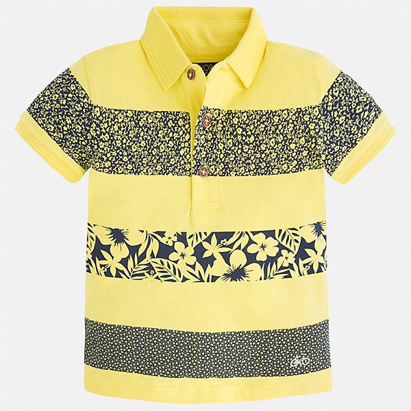Футболка-поло для мальчика MayoralБлузки и рубашки<br>Характеристики товара:<br><br>• цвет: желтый<br>• состав: 100% хлопок<br>• отложной воротник<br>• короткие рукава<br>• застежка: пуговицы<br>• декорирована принтом<br>• страна бренда: Испания<br><br>Футболка-поло для мальчика может стать базовой вещью в гардеробе ребенка. Она отлично сочетается с брюками, шортами, джинсами и т.д. Универсальный крой и цвет позволяет подобрать к вещи низ разных расцветок. Практичное и стильное изделие! В составе материала - только натуральный хлопок, гипоаллергенный, приятный на ощупь, дышащий.<br><br>Одежда, обувь и аксессуары от испанского бренда Mayoral полюбились детям и взрослым по всему миру. Модели этой марки - стильные и удобные. Для их производства используются только безопасные, качественные материалы и фурнитура. Порадуйте ребенка модными и красивыми вещами от Mayoral! <br><br>Футболку-поло для мальчика от испанского бренда Mayoral (Майорал) можно купить в нашем интернет-магазине.<br><br>Ширина мм: 186<br>Глубина мм: 87<br>Высота мм: 198<br>Вес г: 197<br>Цвет: желтый<br>Возраст от месяцев: 84<br>Возраст до месяцев: 96<br>Пол: Мужской<br>Возраст: Детский<br>Размер: 128,134,92,98,122,110,104,116<br>SKU: 4232428